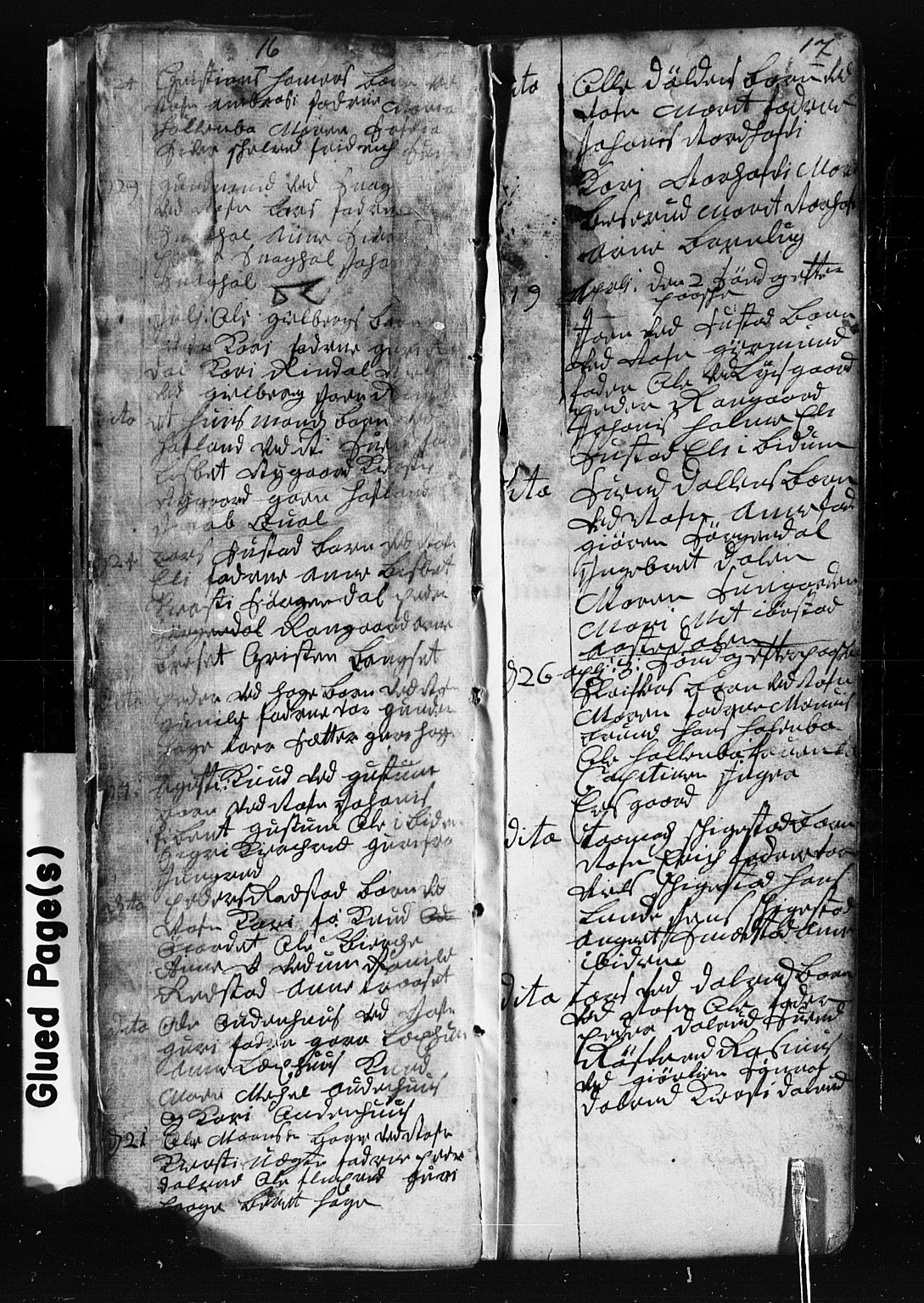 SAH, Fåberg prestekontor, Klokkerbok nr. 1, 1727-1767, s. 16-17