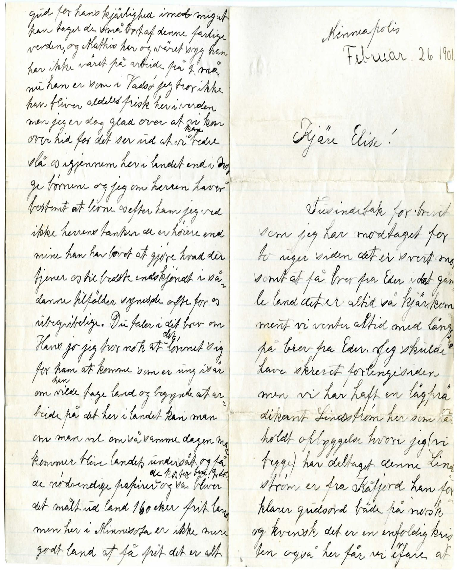 FMFB, Elise Balos brevsamling, F/Fb/L0001: Brev fra Emma Jokela til Elise Balo, 1901