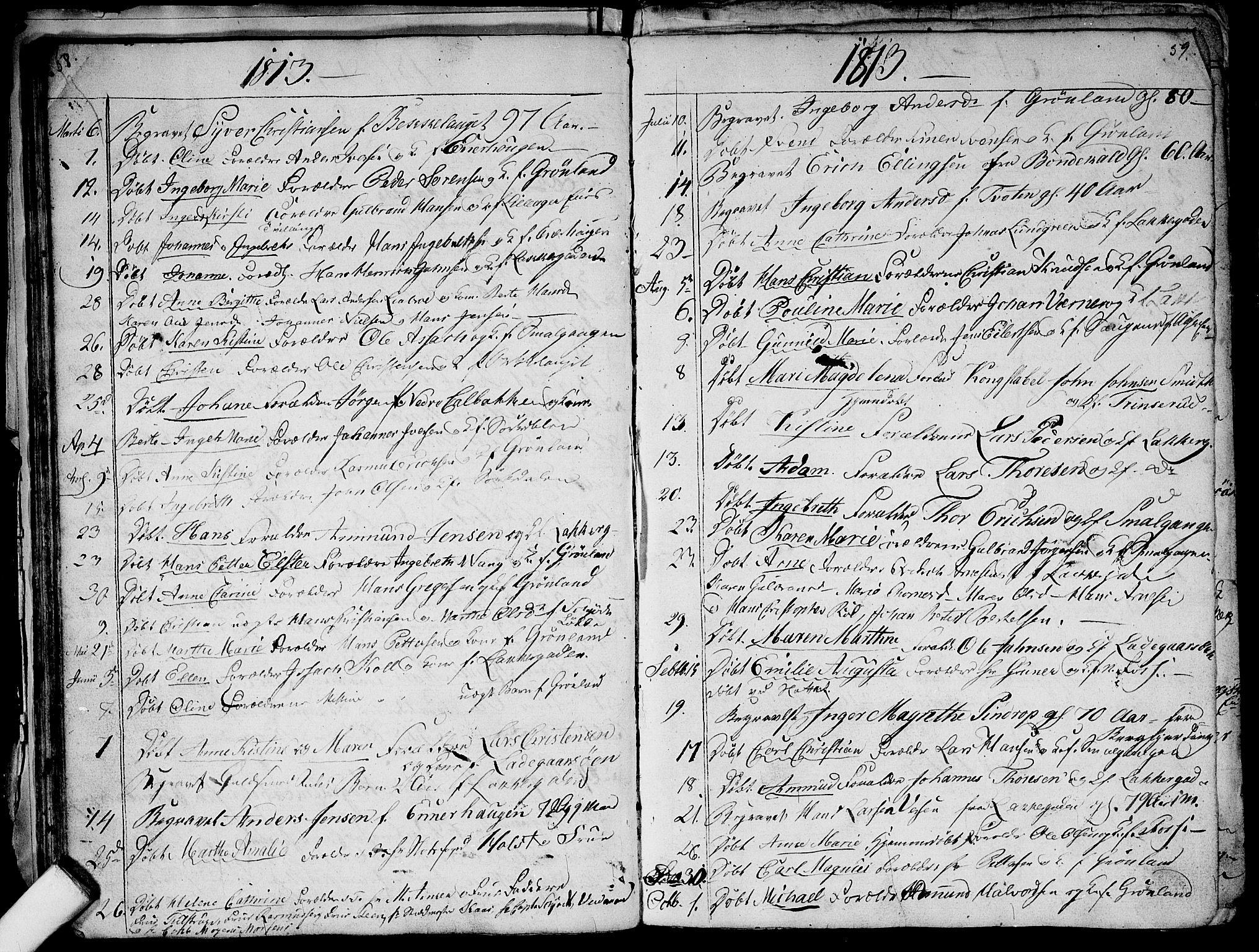 SAO, Aker prestekontor kirkebøker, G/L0001: Klokkerbok nr. 1, 1796-1826, s. 58-59