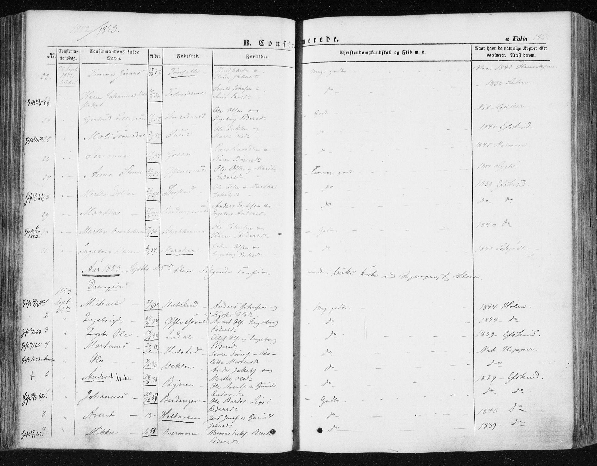 SAT, Ministerialprotokoller, klokkerbøker og fødselsregistre - Nord-Trøndelag, 723/L0240: Ministerialbok nr. 723A09, 1852-1860, s. 146