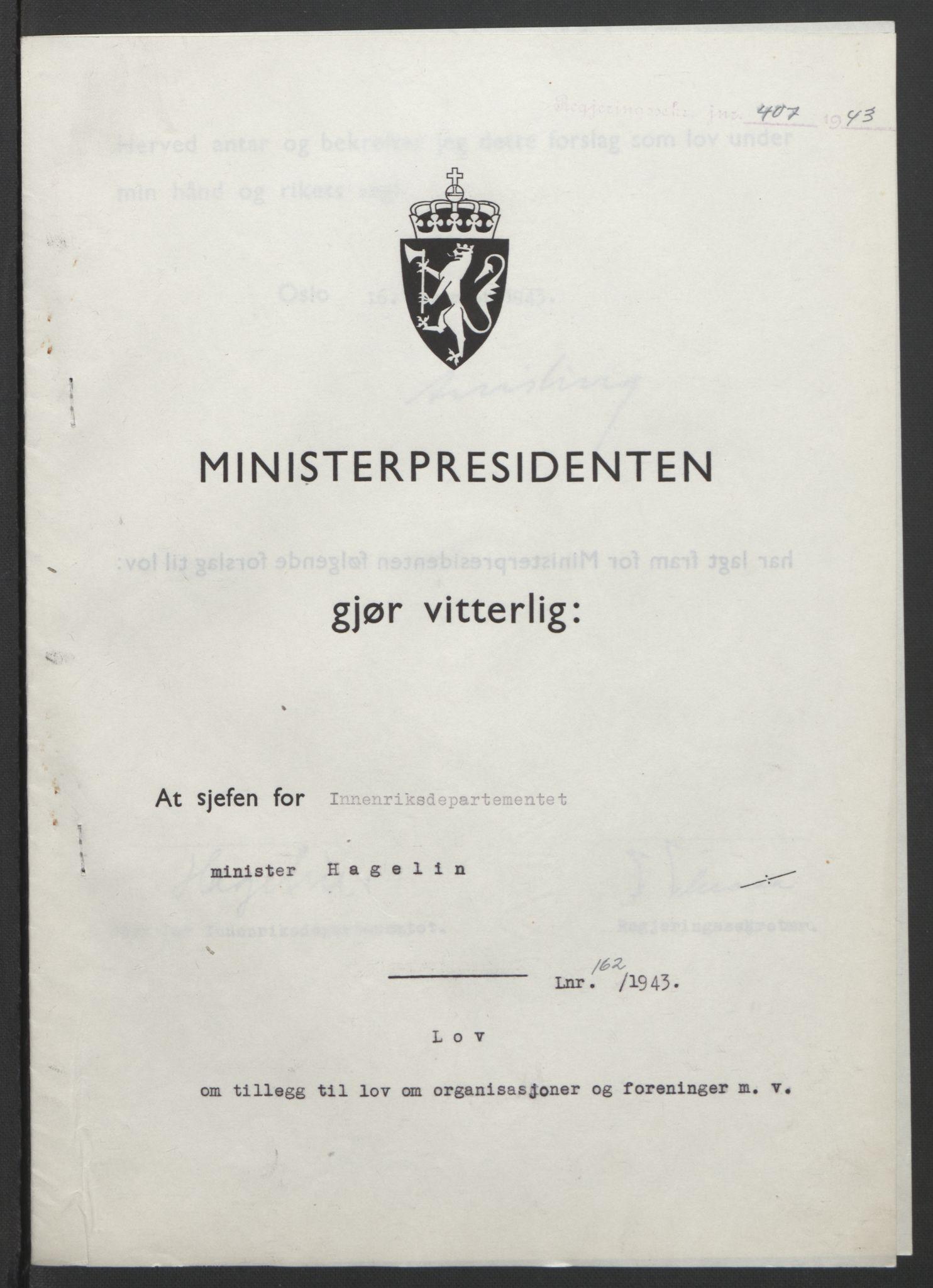 RA, NS-administrasjonen 1940-1945 (Statsrådsekretariatet, de kommisariske statsråder mm), D/Db/L0099: Lover, 1943, s. 766
