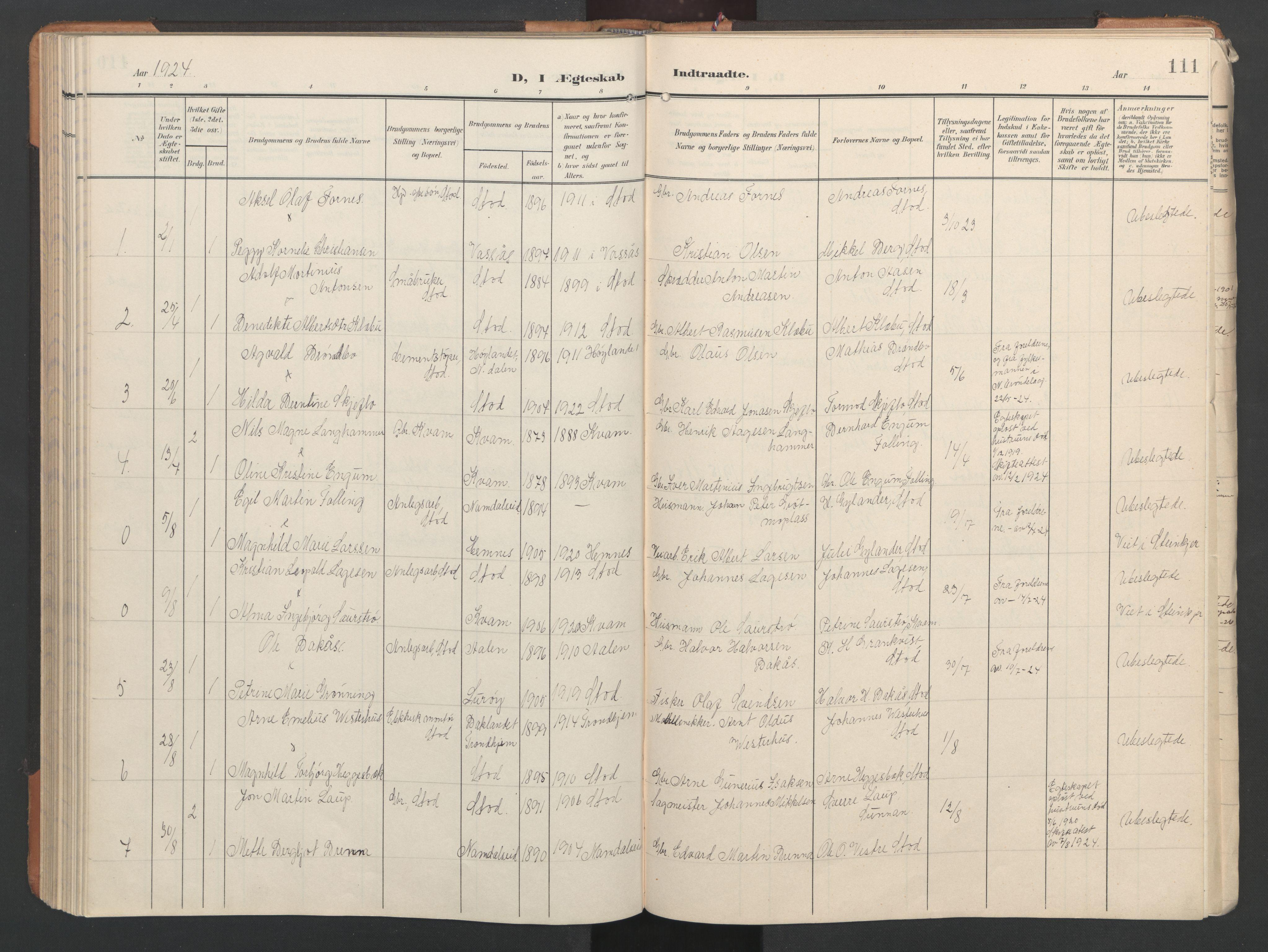 SAT, Ministerialprotokoller, klokkerbøker og fødselsregistre - Nord-Trøndelag, 746/L0455: Klokkerbok nr. 746C01, 1908-1933, s. 111