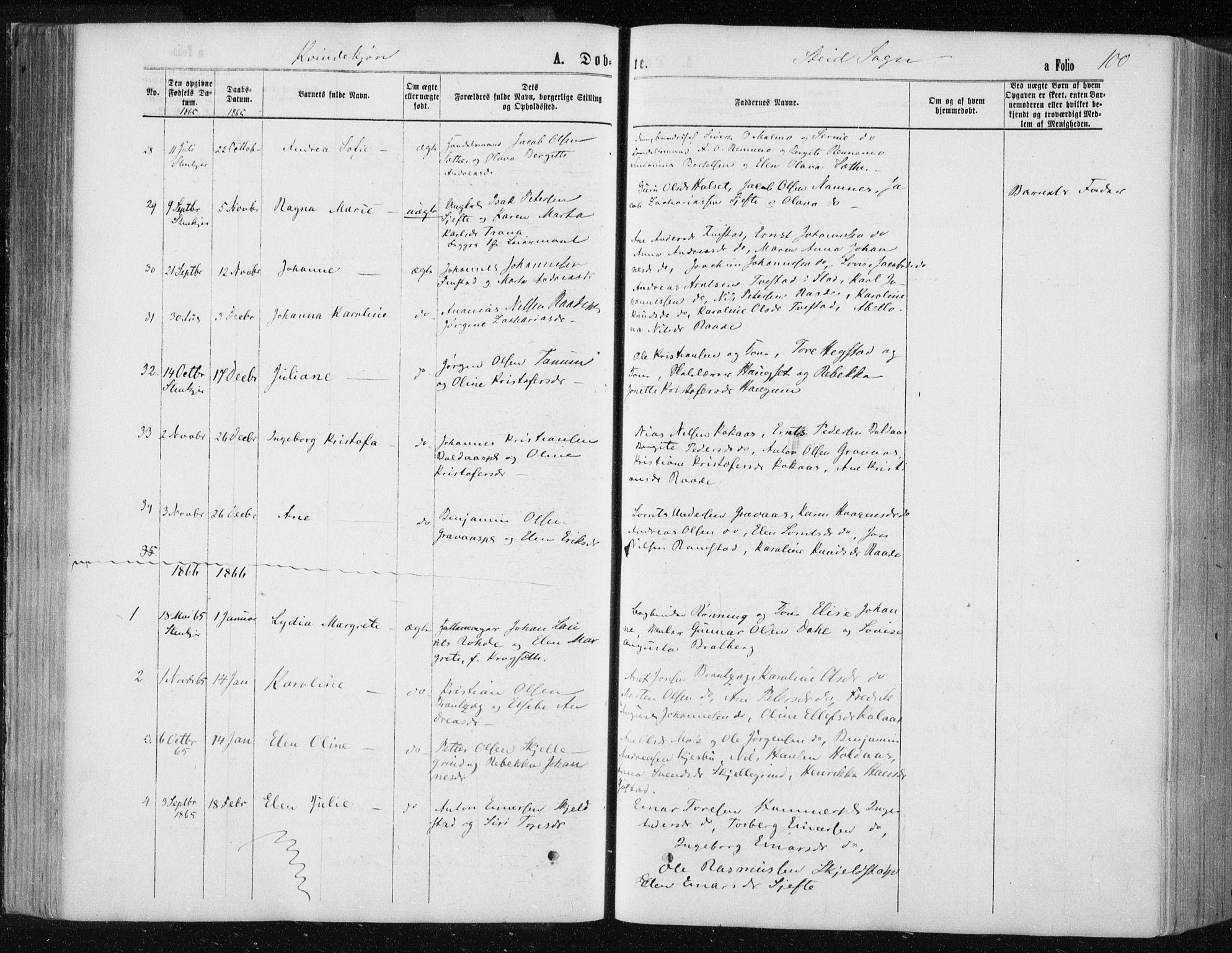 SAT, Ministerialprotokoller, klokkerbøker og fødselsregistre - Nord-Trøndelag, 735/L0345: Ministerialbok nr. 735A08 /2, 1863-1872, s. 100