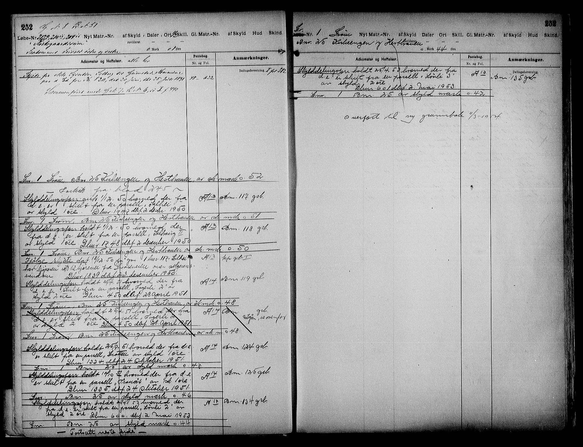 SAK, Vestre Nedenes/Sand sorenskriveri, G/Ga/L0018: Panteregister nr. 13b, 1872-1956, s. 252