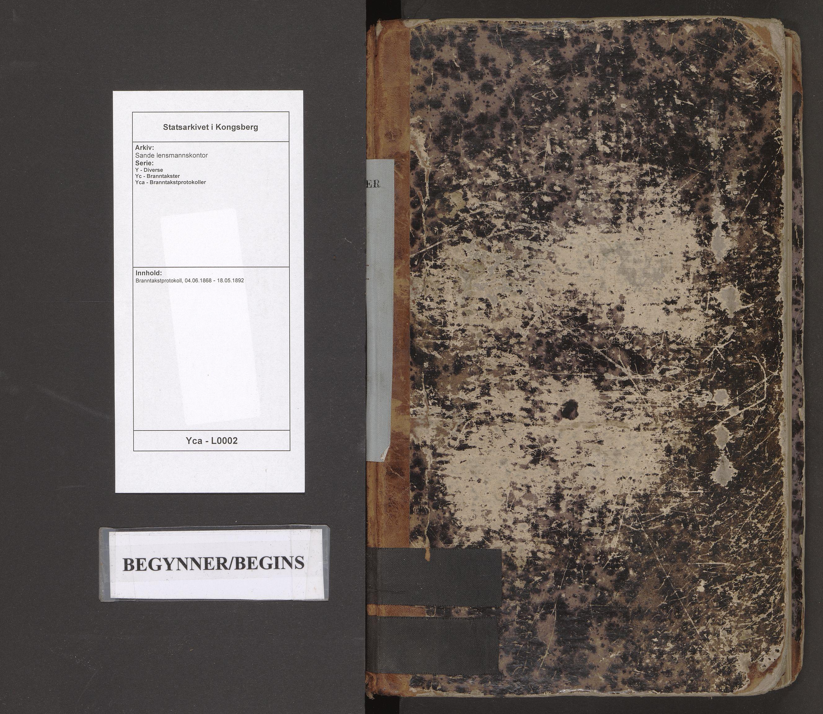 SAKO, Sande lensmannskontor, Y/Yc/Yca/L0002: Branntakstprotokoll, 1868-1892