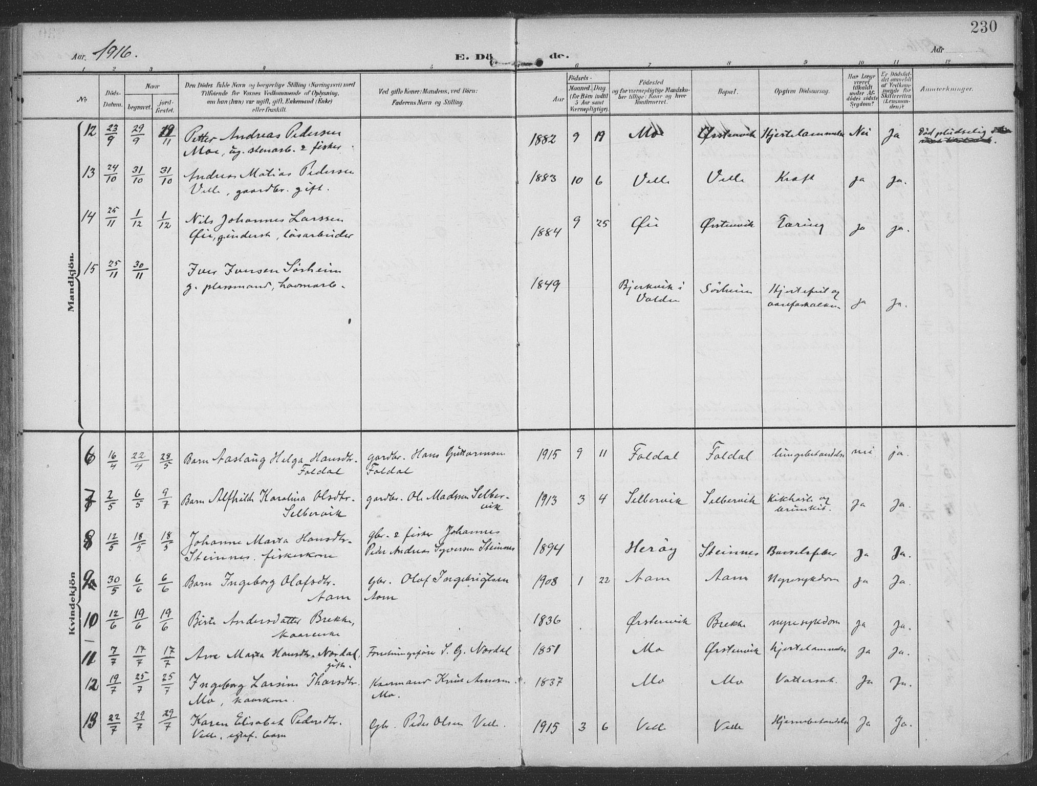 SAT, Ministerialprotokoller, klokkerbøker og fødselsregistre - Møre og Romsdal, 513/L0178: Ministerialbok nr. 513A05, 1906-1919, s. 230