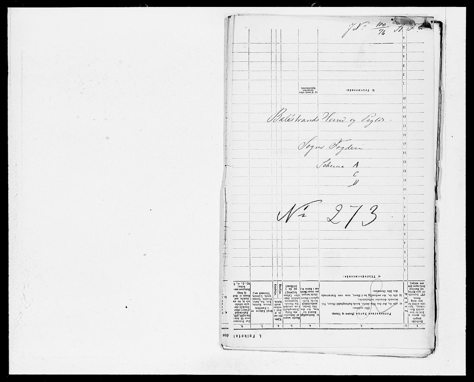 SAB, Folketelling 1875 for 1418P Balestrand prestegjeld, 1875, s. 1