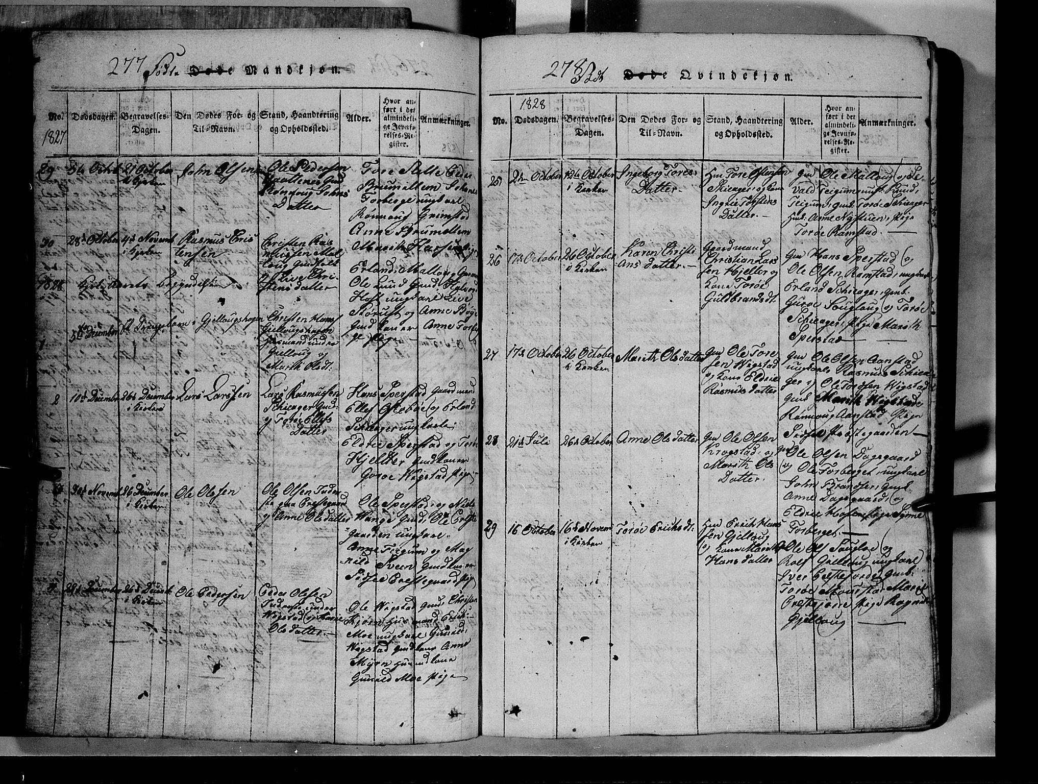 SAH, Lom prestekontor, L/L0003: Klokkerbok nr. 3, 1815-1844, s. 277-278