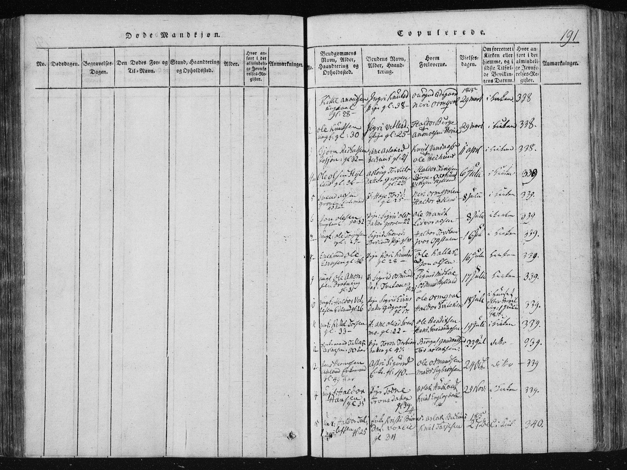 SAKO, Vinje kirkebøker, F/Fa/L0003: Ministerialbok nr. I 3, 1814-1843, s. 191