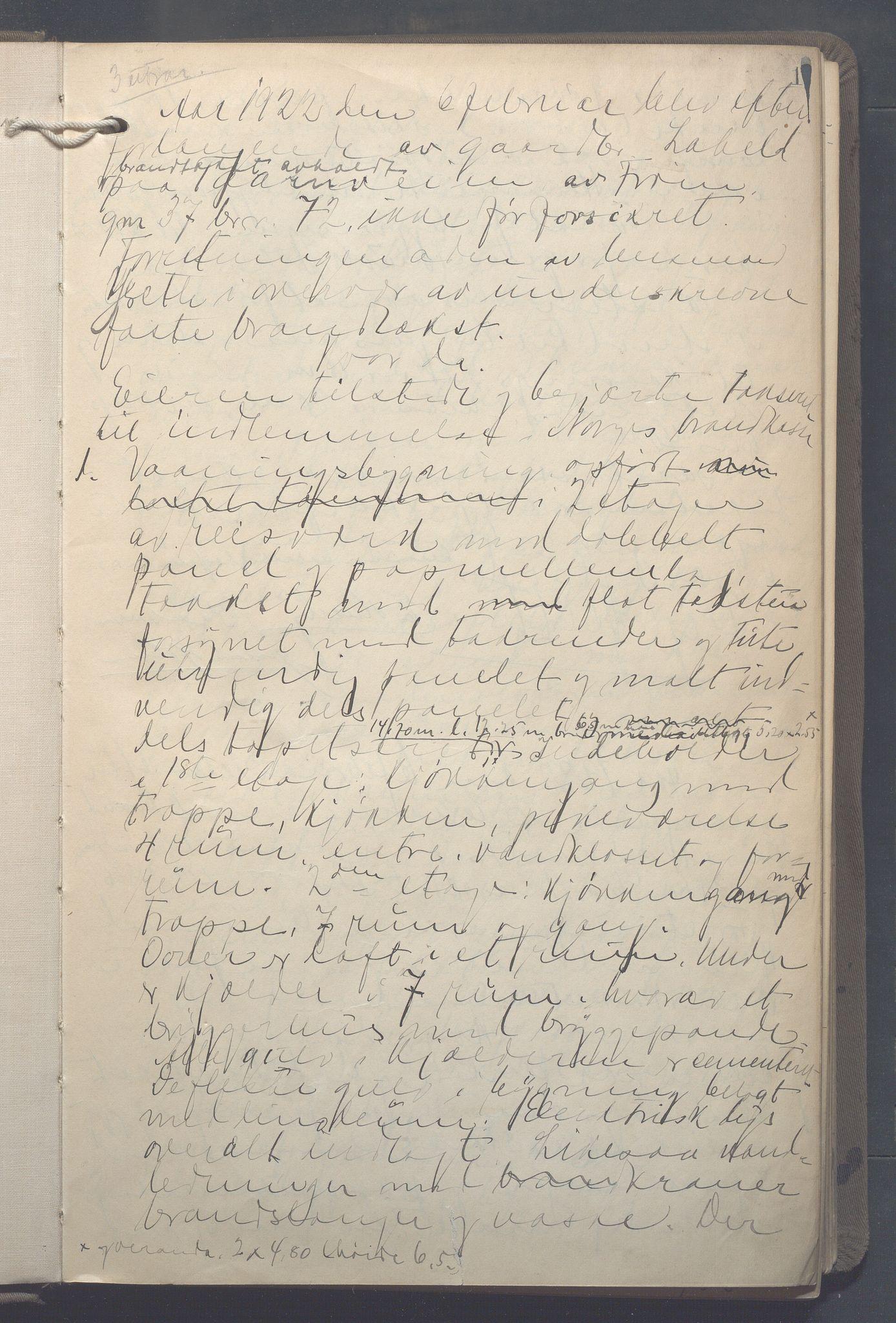 OBA, Lensmennene i Aker, F/Fa/L0021: Branntakstprotokoll, 1922-1925, s. 1