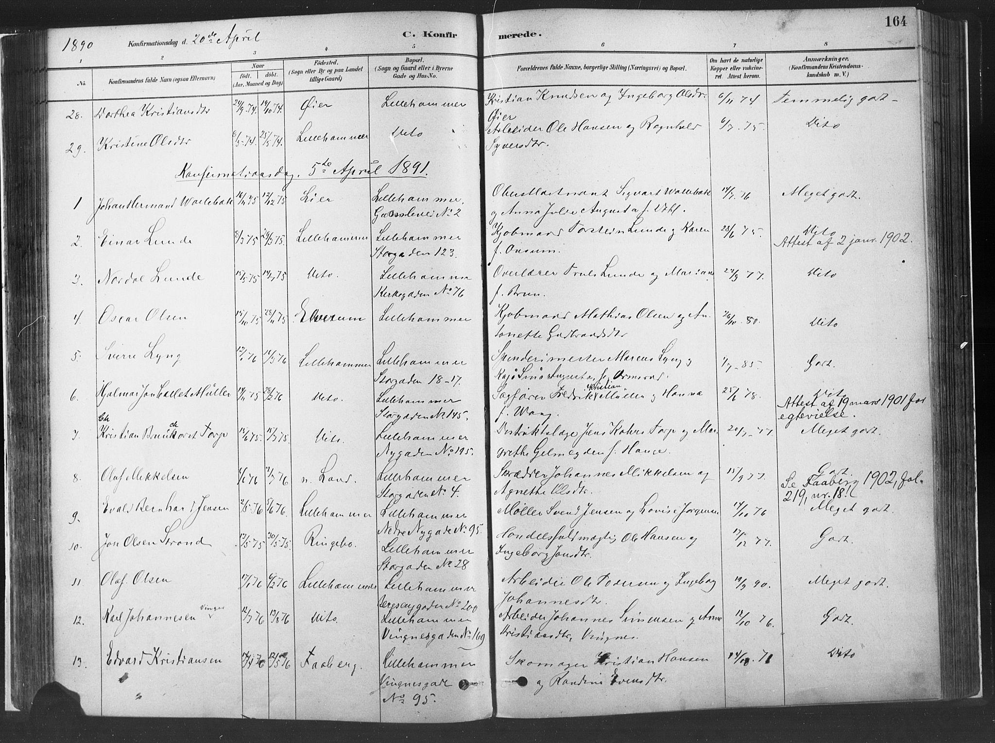 SAH, Fåberg prestekontor, Ministerialbok nr. 10, 1879-1900, s. 164