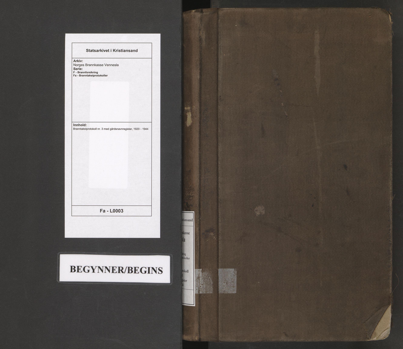SAK, Norges Brannkasse Vennesla, F/Fa/L0003: Branntakstprotokoll nr. 3 med gårdsnavnregister, 1920-1944
