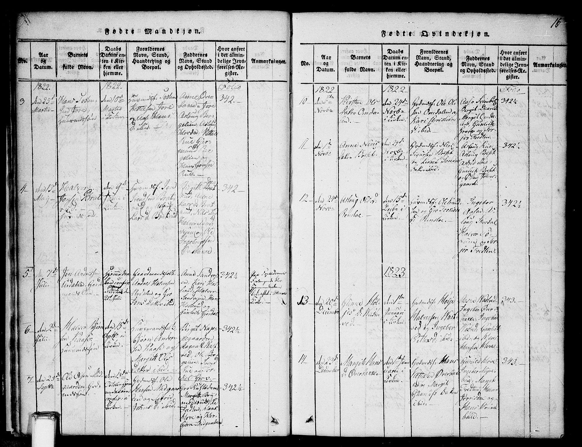 SAKO, Gransherad kirkebøker, G/Gb/L0001: Klokkerbok nr. II 1, 1815-1860, s. 16
