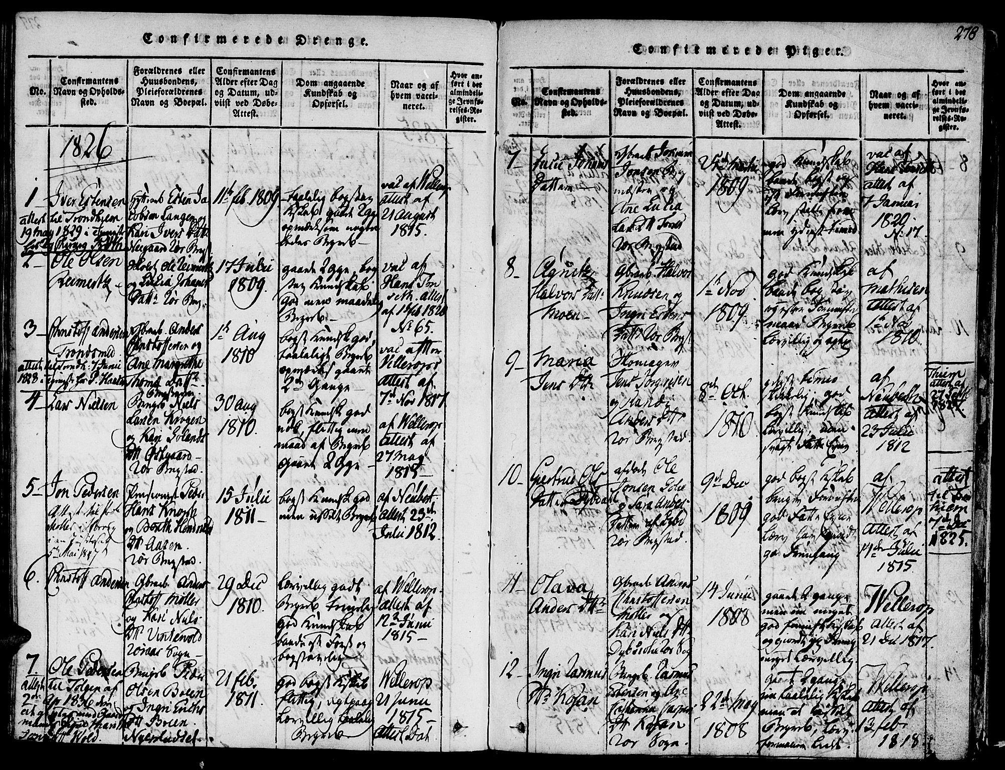 SAT, Ministerialprotokoller, klokkerbøker og fødselsregistre - Sør-Trøndelag, 681/L0929: Ministerialbok nr. 681A07, 1817-1828, s. 278