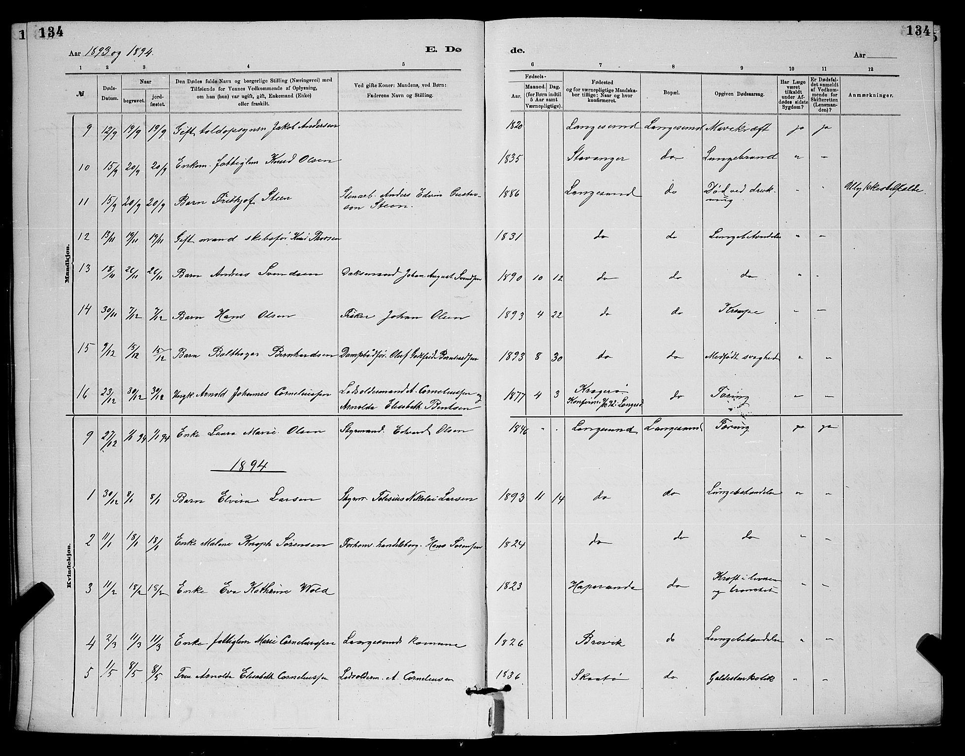 SAKO, Langesund kirkebøker, G/Ga/L0005: Klokkerbok nr. 5, 1884-1898, s. 134