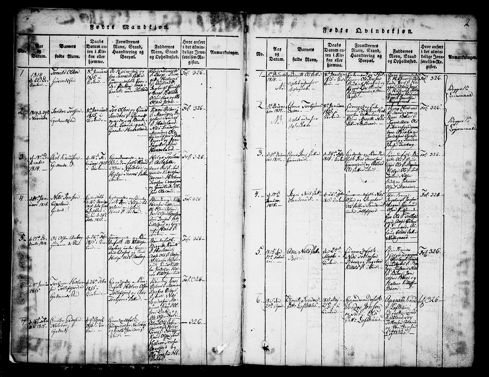 SAKO, Tinn kirkebøker, G/Ga/L0001: Klokkerbok nr. I 1, 1815-1850, s. 2