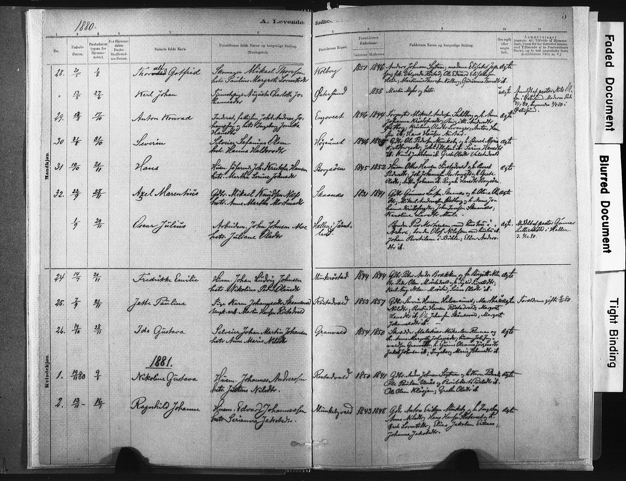 SAT, Ministerialprotokoller, klokkerbøker og fødselsregistre - Nord-Trøndelag, 721/L0207: Ministerialbok nr. 721A02, 1880-1911, s. 5