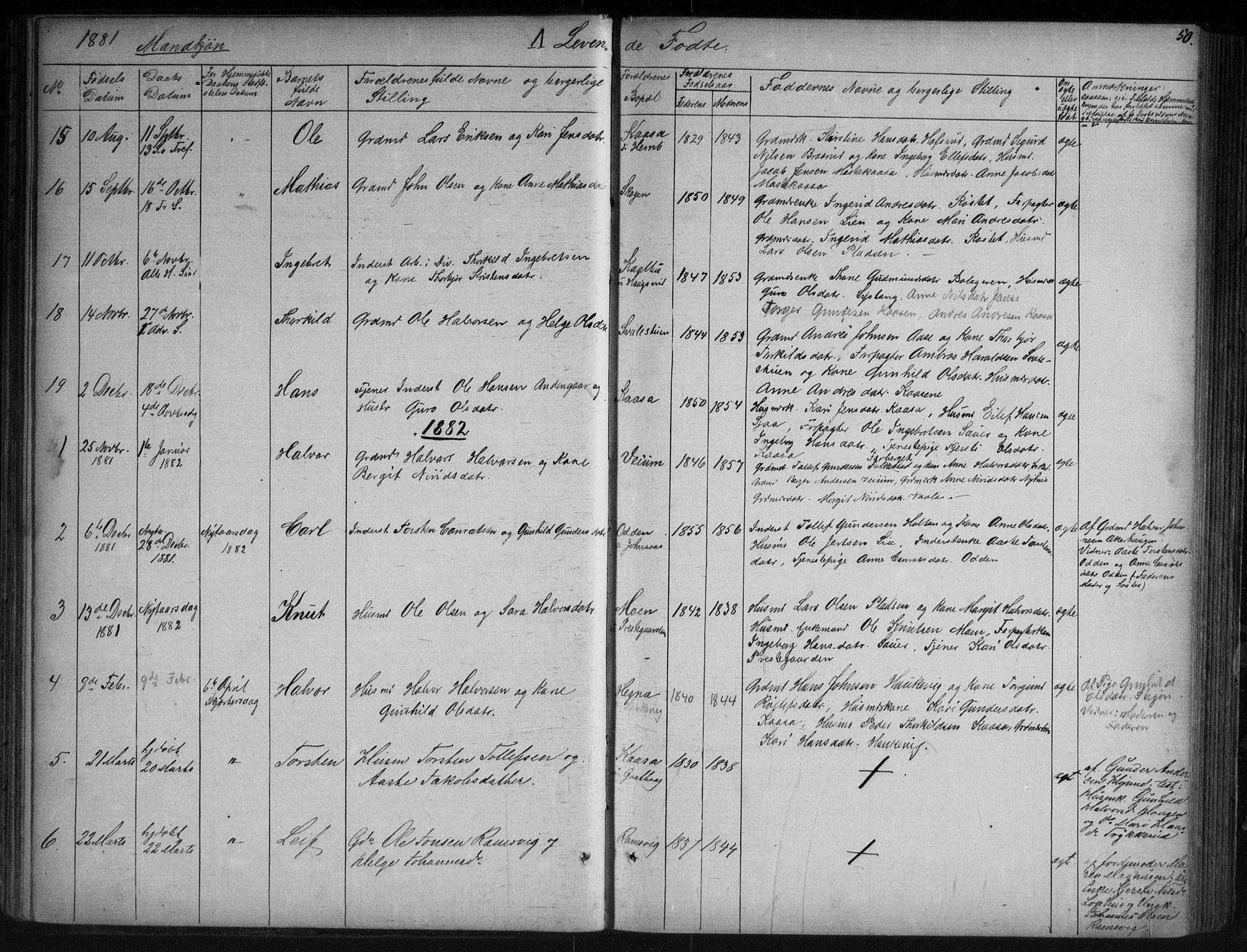 SAKO, Sauherad kirkebøker, G/Ga/L0003: Klokkerbok nr. I 3, 1866-1905, s. 50