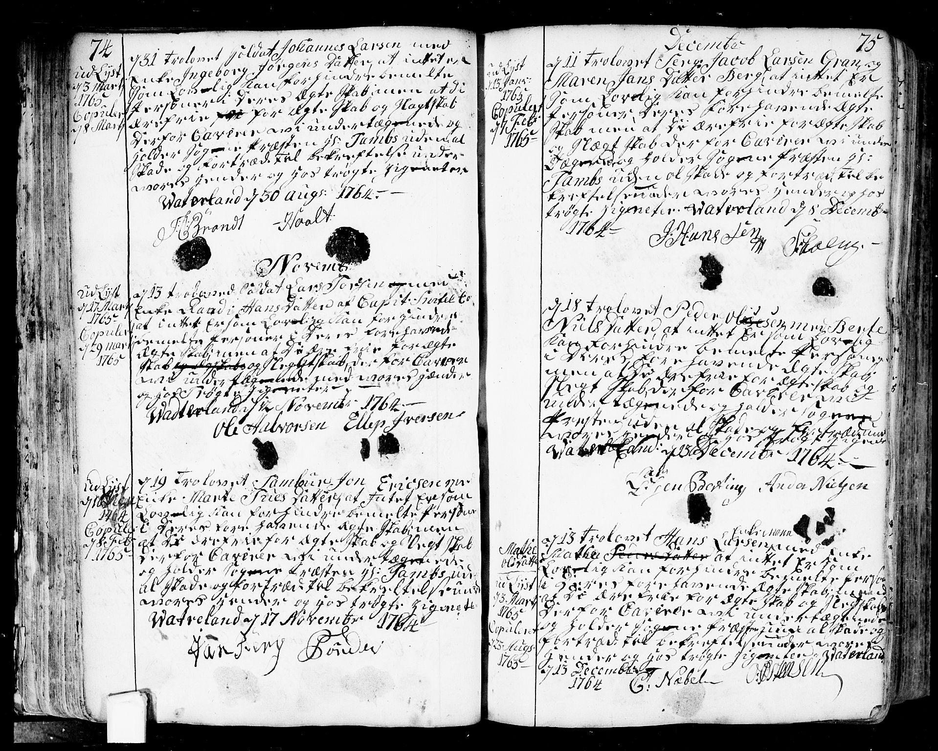 SAO, Fredrikstad prestekontor Kirkebøker, F/Fa/L0002: Ministerialbok nr. 2, 1750-1804, s. 74-75