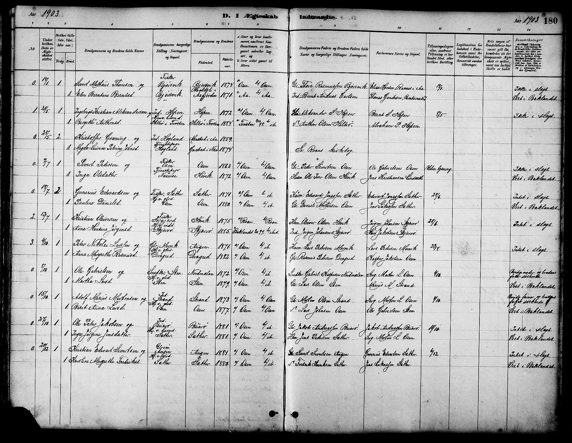 SAT, Ministerialprotokoller, klokkerbøker og fødselsregistre - Sør-Trøndelag, 658/L0726: Klokkerbok nr. 658C02, 1883-1908, s. 180