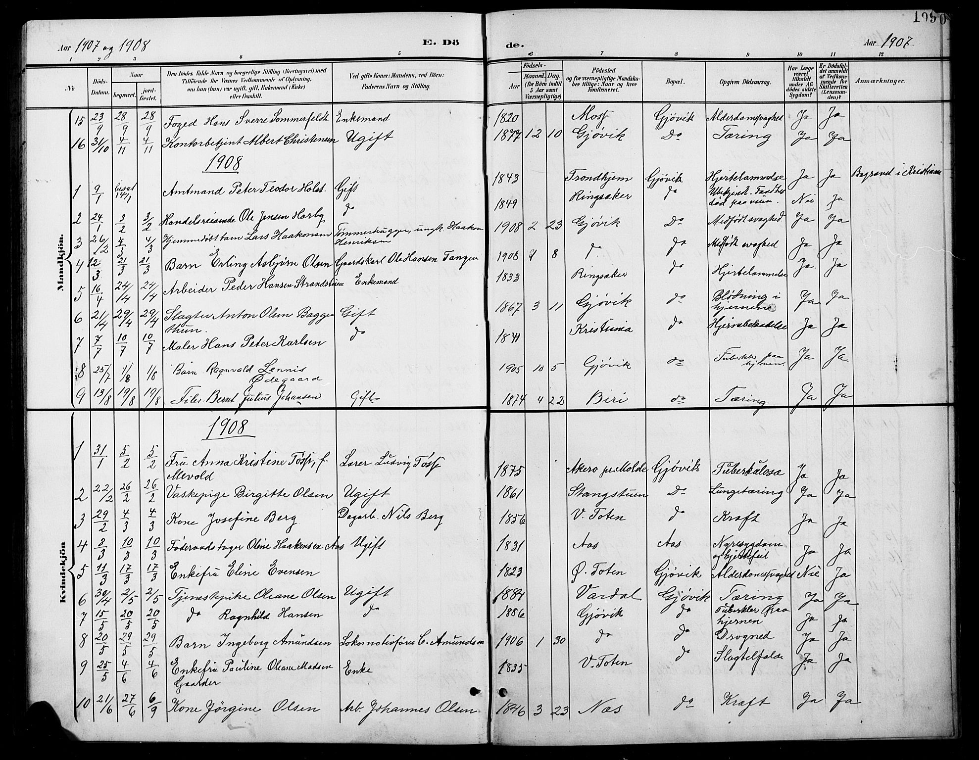 SAH, Vardal prestekontor, H/Ha/Hab/L0012: Klokkerbok nr. 12, 1902-1911, s. 199