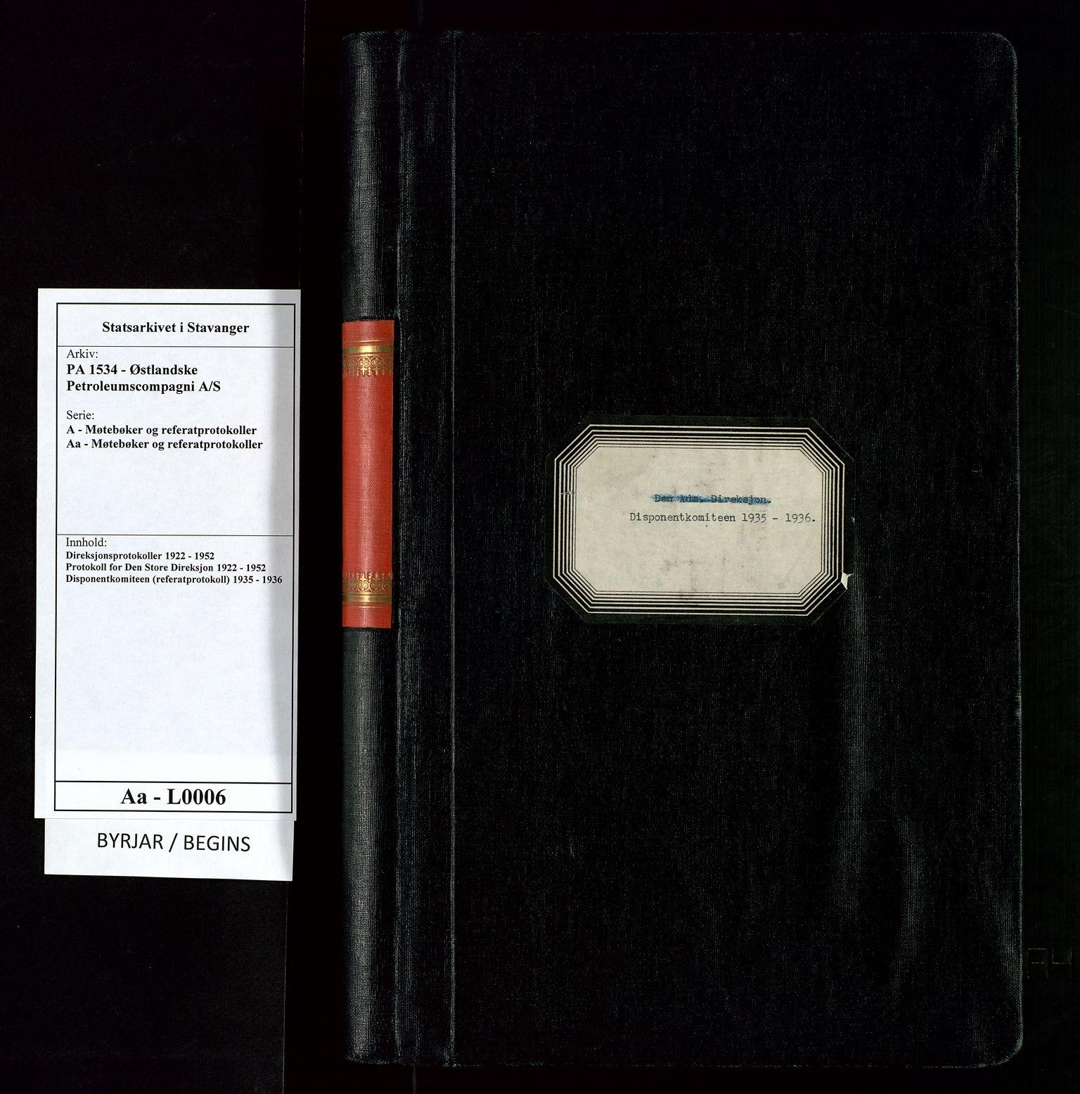 SAST, PA 1534 - Østlandske Petroleumscompagni A/S, A/Aa/L0006: Direksjonsprotokoller, 1935-1936, s. upaginert