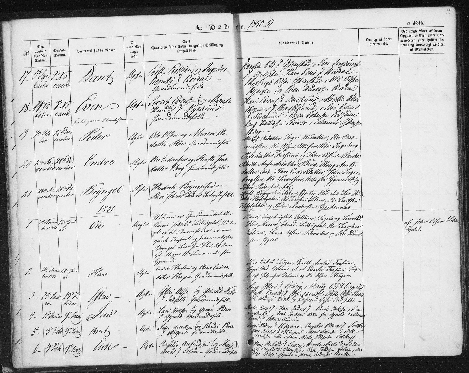 SAT, Ministerialprotokoller, klokkerbøker og fødselsregistre - Sør-Trøndelag, 689/L1038: Ministerialbok nr. 689A03, 1848-1872, s. 9