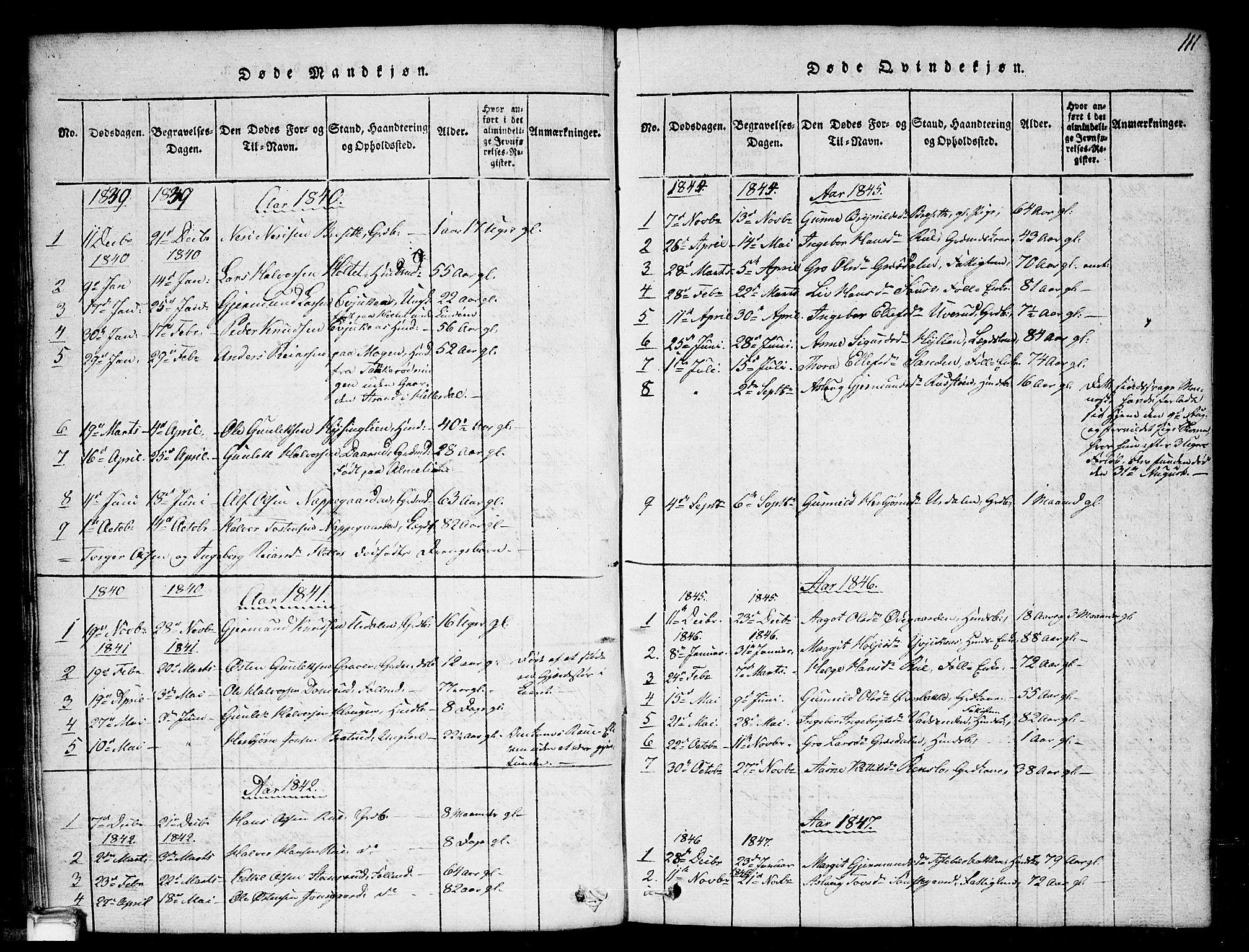 SAKO, Gransherad kirkebøker, G/Gb/L0001: Klokkerbok nr. II 1, 1815-1860, s. 111