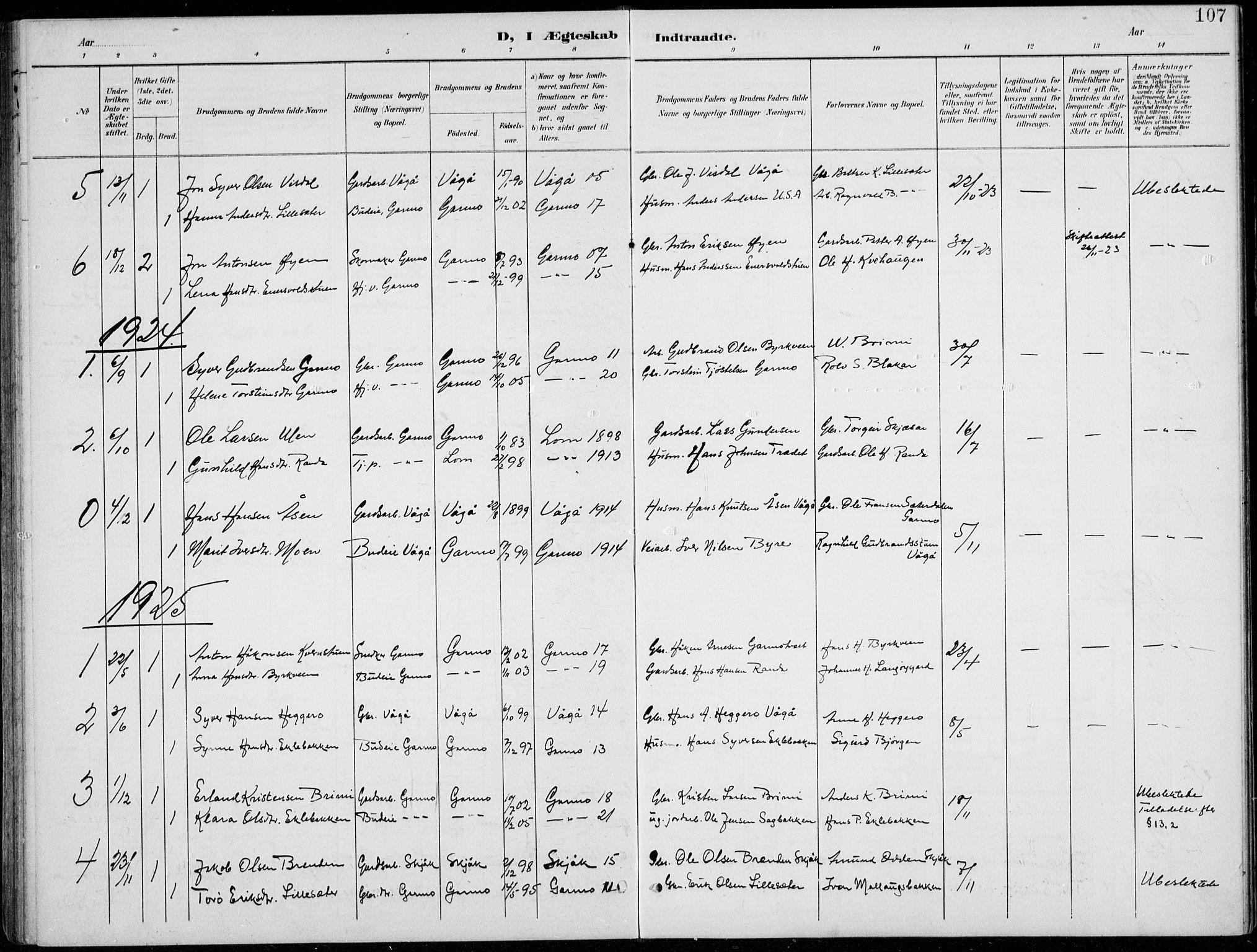 SAH, Lom prestekontor, L/L0006: Klokkerbok nr. 6, 1901-1939, s. 107