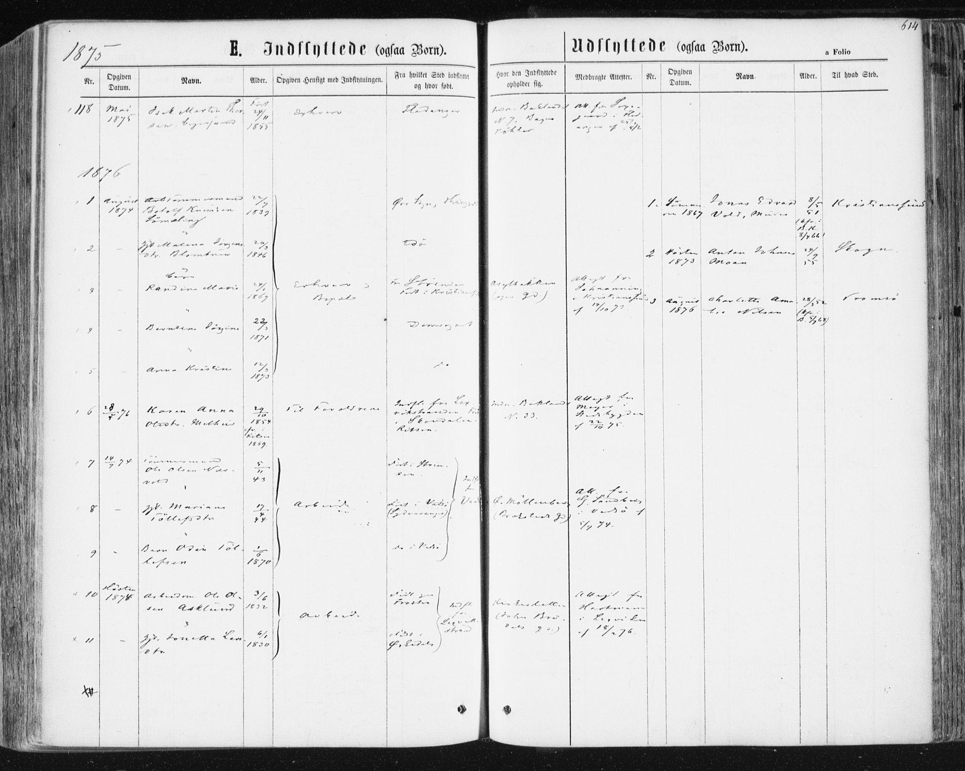 SAT, Ministerialprotokoller, klokkerbøker og fødselsregistre - Sør-Trøndelag, 604/L0186: Ministerialbok nr. 604A07, 1866-1877, s. 614