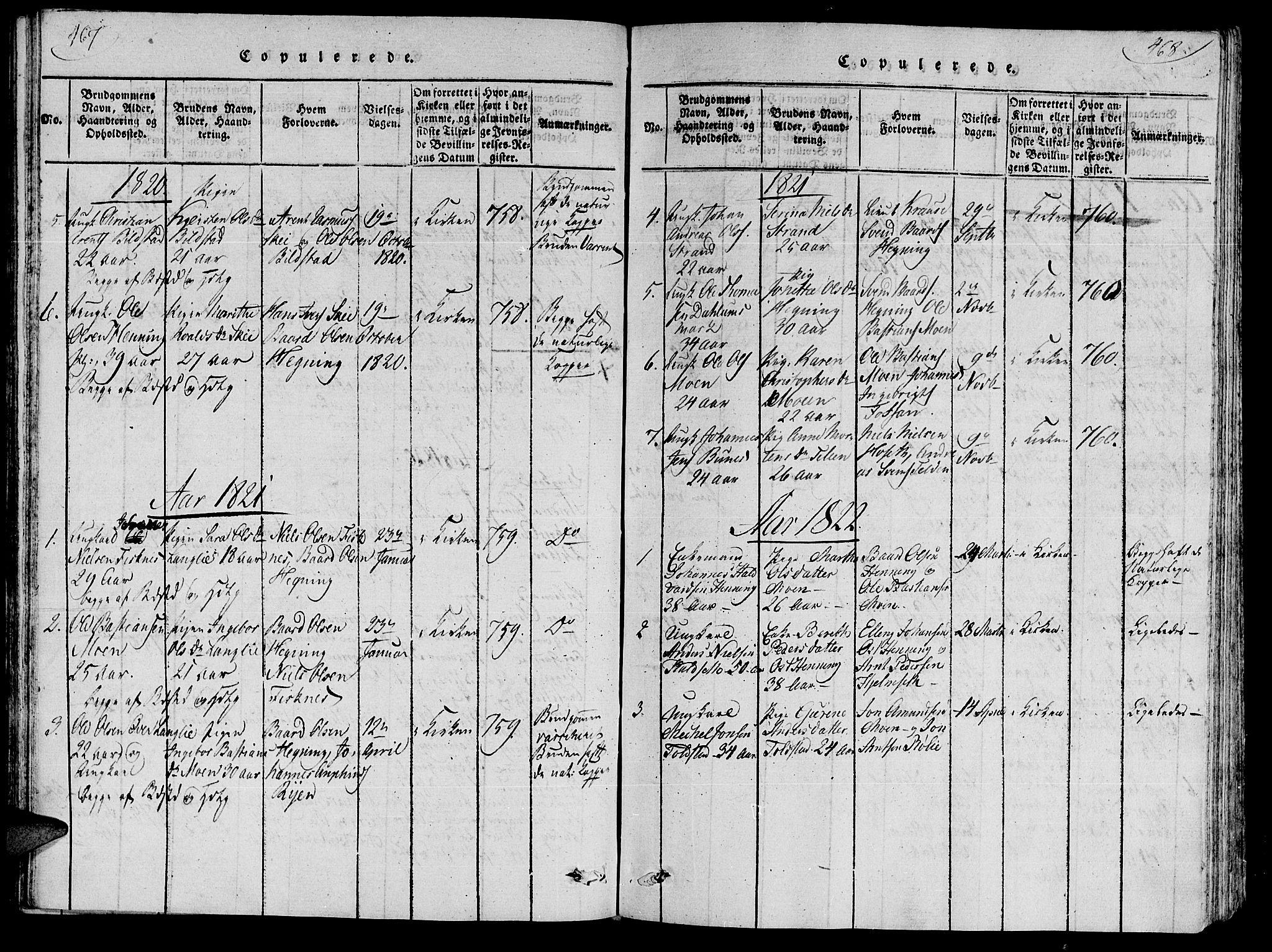SAT, Ministerialprotokoller, klokkerbøker og fødselsregistre - Nord-Trøndelag, 735/L0333: Ministerialbok nr. 735A04 /3, 1816-1825, s. 467-468