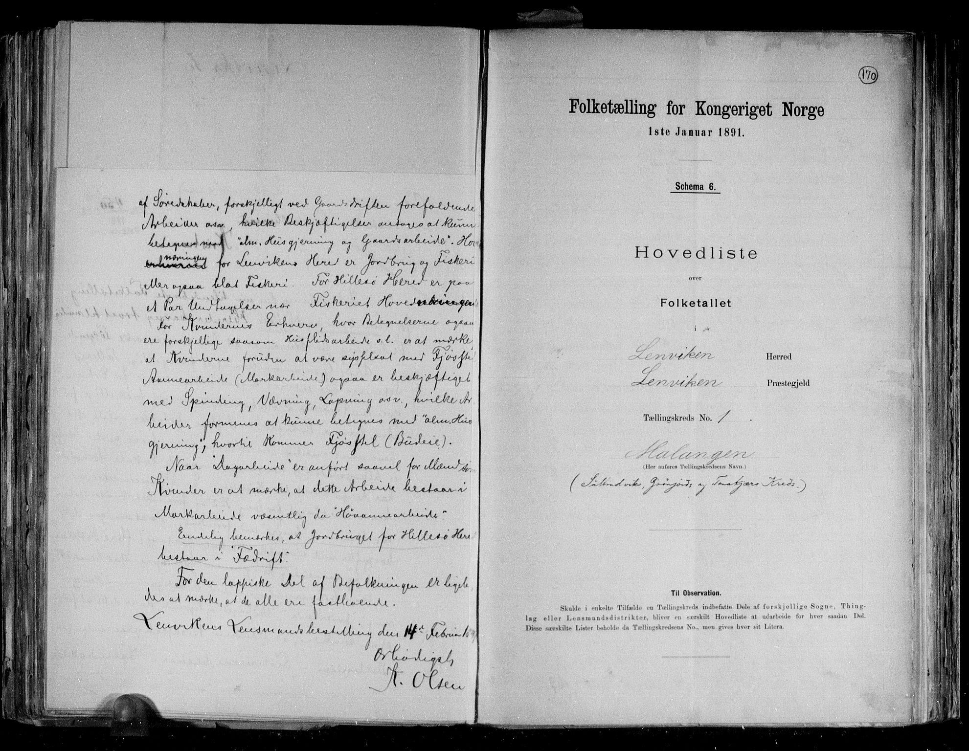 RA, Folketelling 1891 for 1931 Lenvik herred, 1891, s. 7