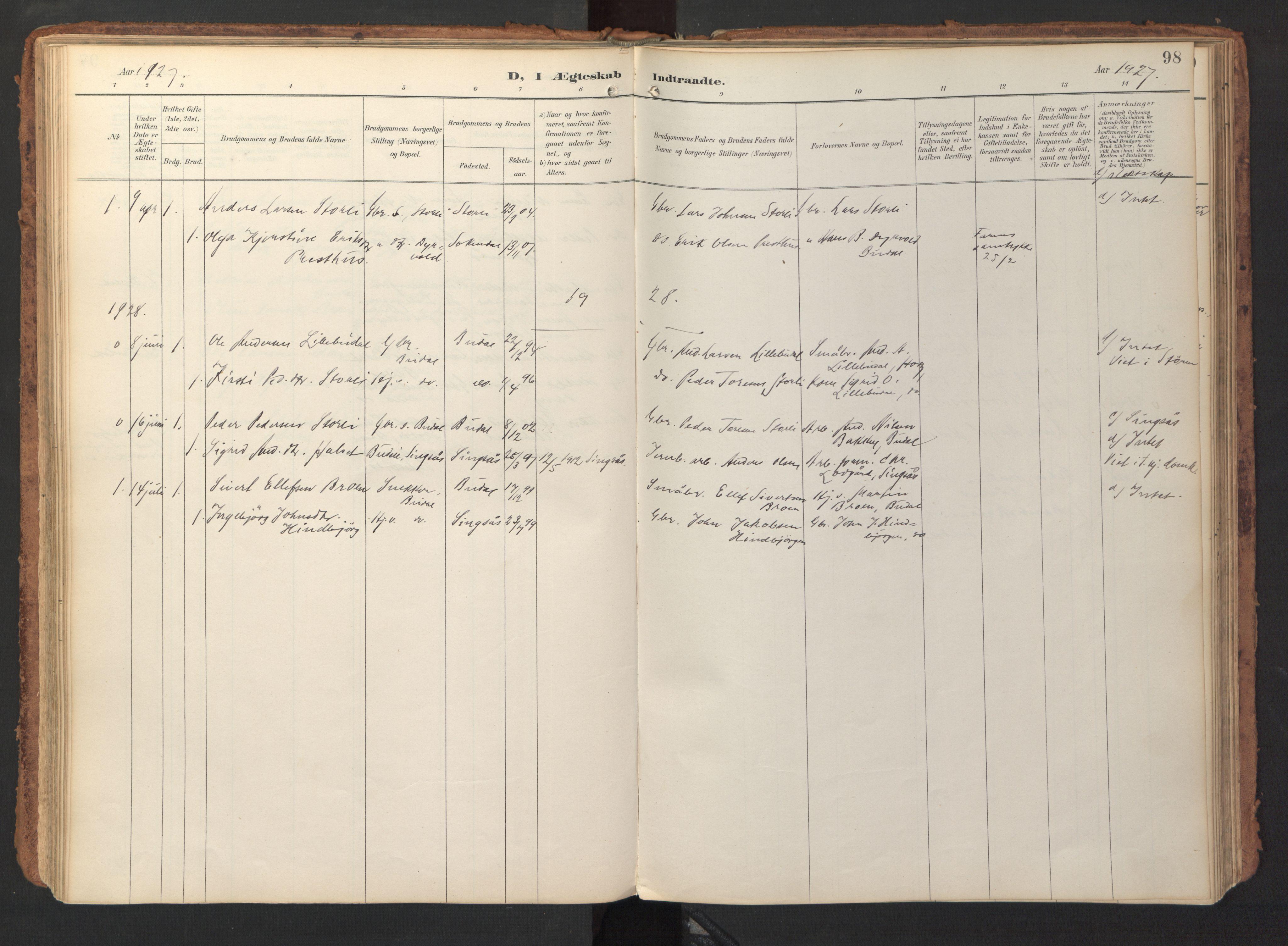 SAT, Ministerialprotokoller, klokkerbøker og fødselsregistre - Sør-Trøndelag, 690/L1050: Ministerialbok nr. 690A01, 1889-1929, s. 98