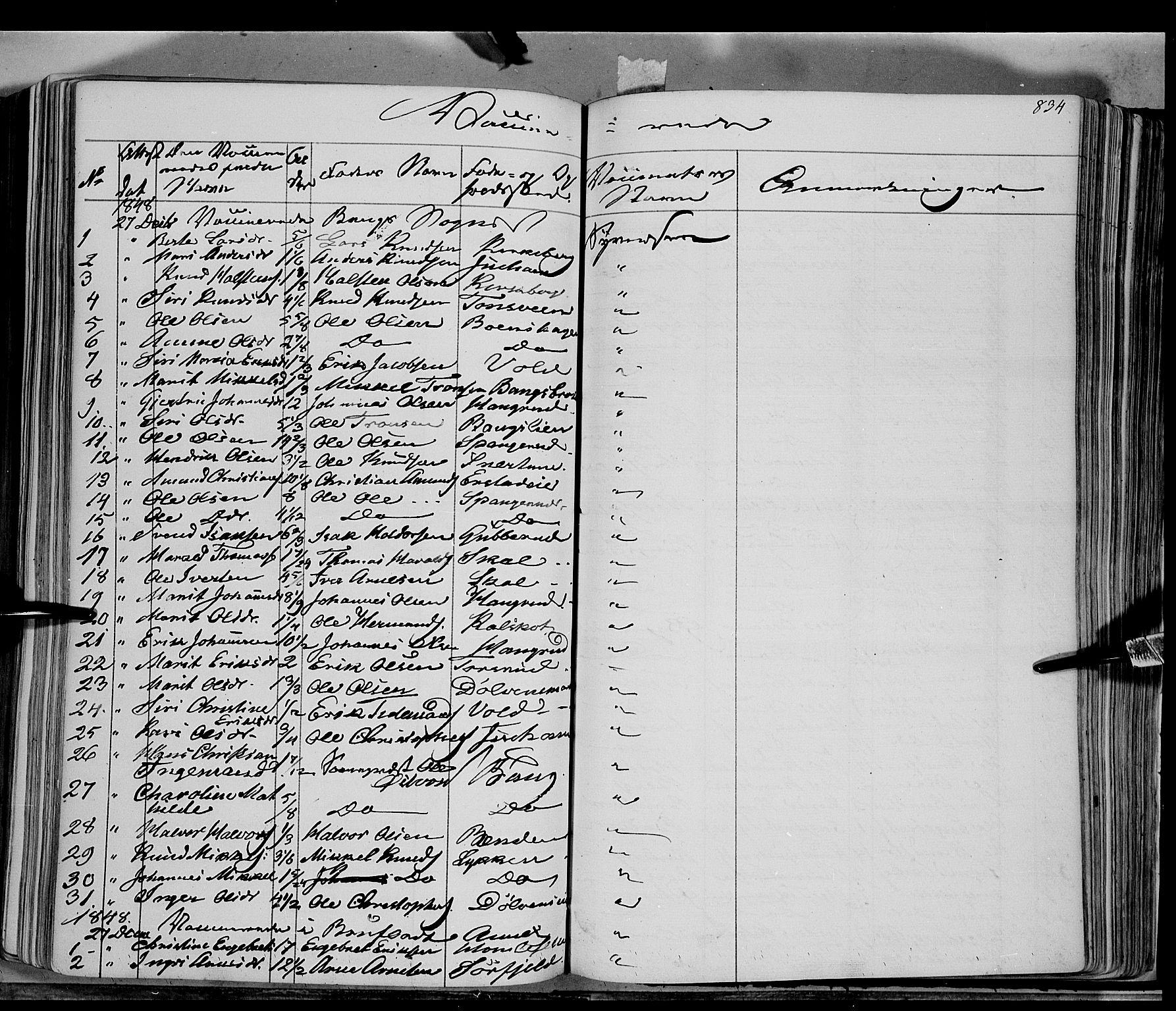 SAH, Sør-Aurdal prestekontor, Ministerialbok nr. 4, 1841-1849, s. 833-834