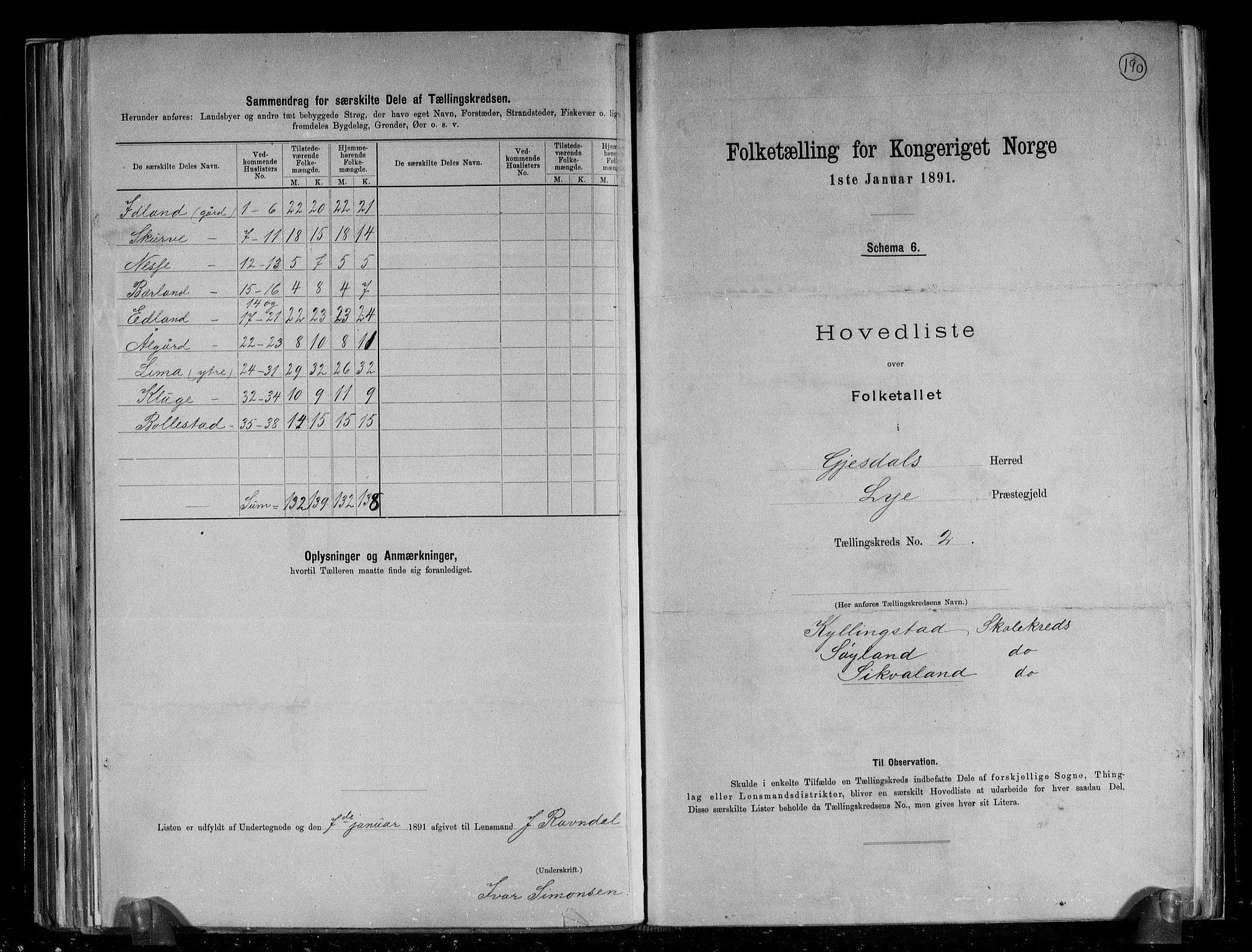 RA, Folketelling 1891 for 1122 Gjesdal herred, 1891, s. 9