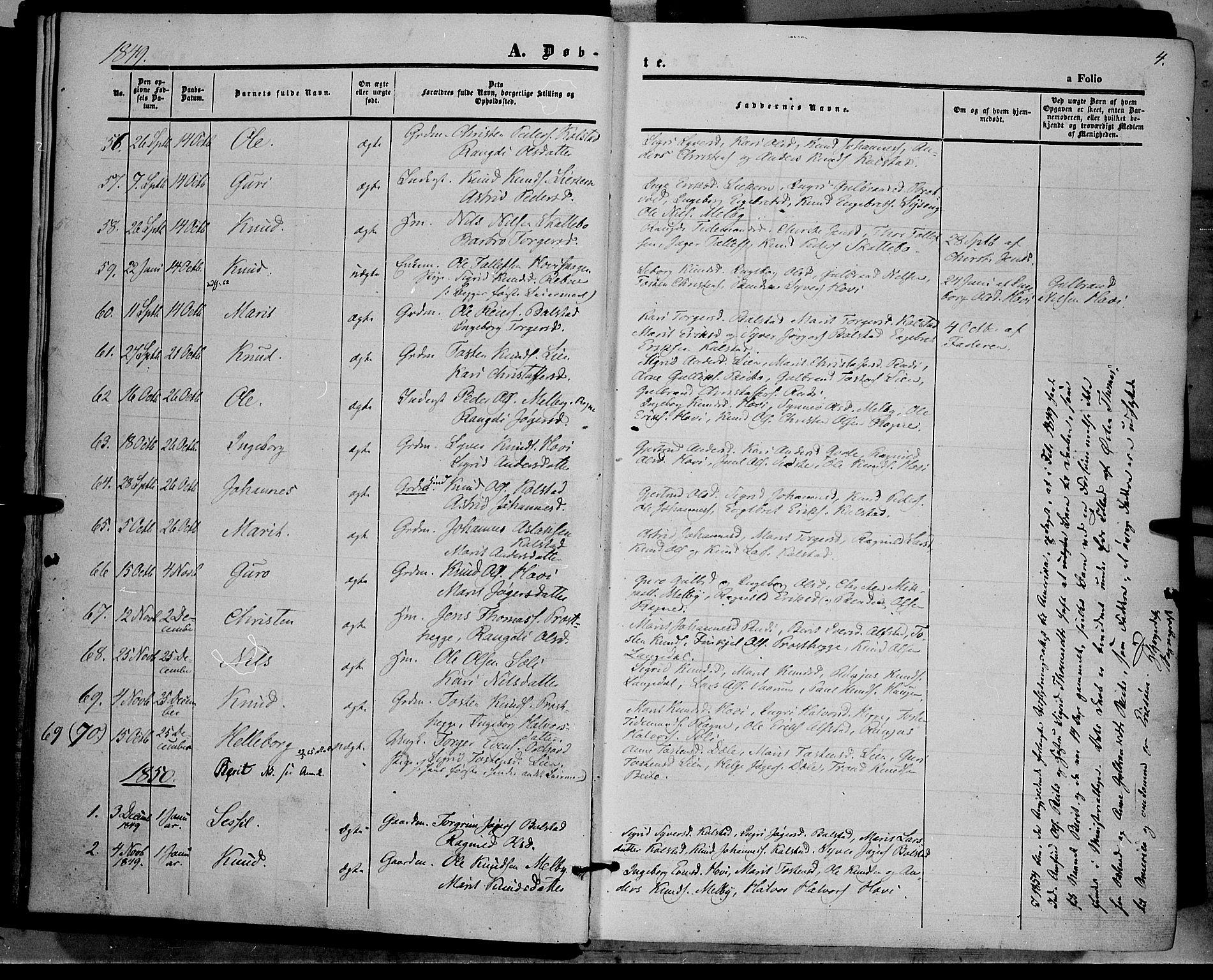 SAH, Øystre Slidre prestekontor, Ministerialbok nr. 1, 1849-1874, s. 4