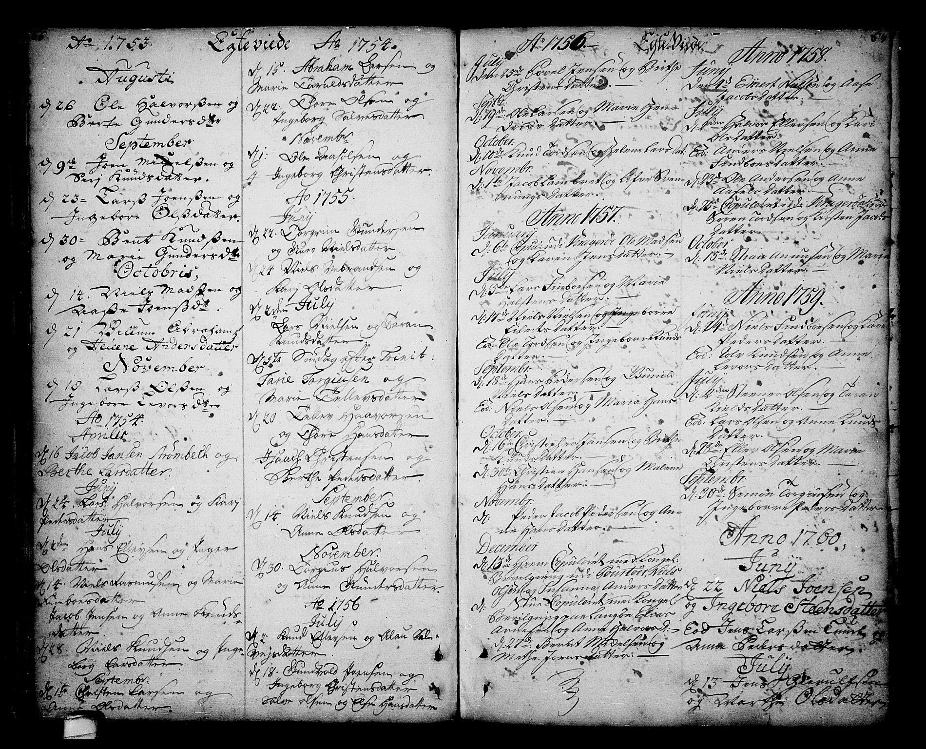 SAKO, Sannidal kirkebøker, F/Fa/L0001: Ministerialbok nr. 1, 1702-1766, s. 66-67