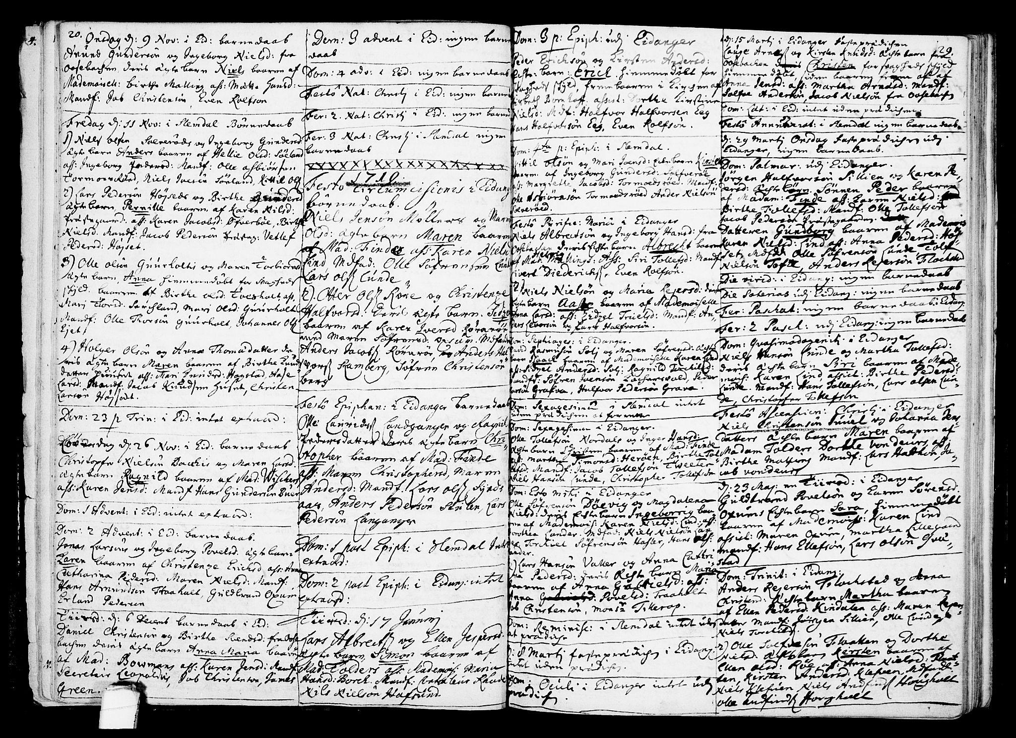 SAKO, Eidanger kirkebøker, F/Fa/L0002: Ministerialbok nr. 2, 1712-1720, s. 20-21