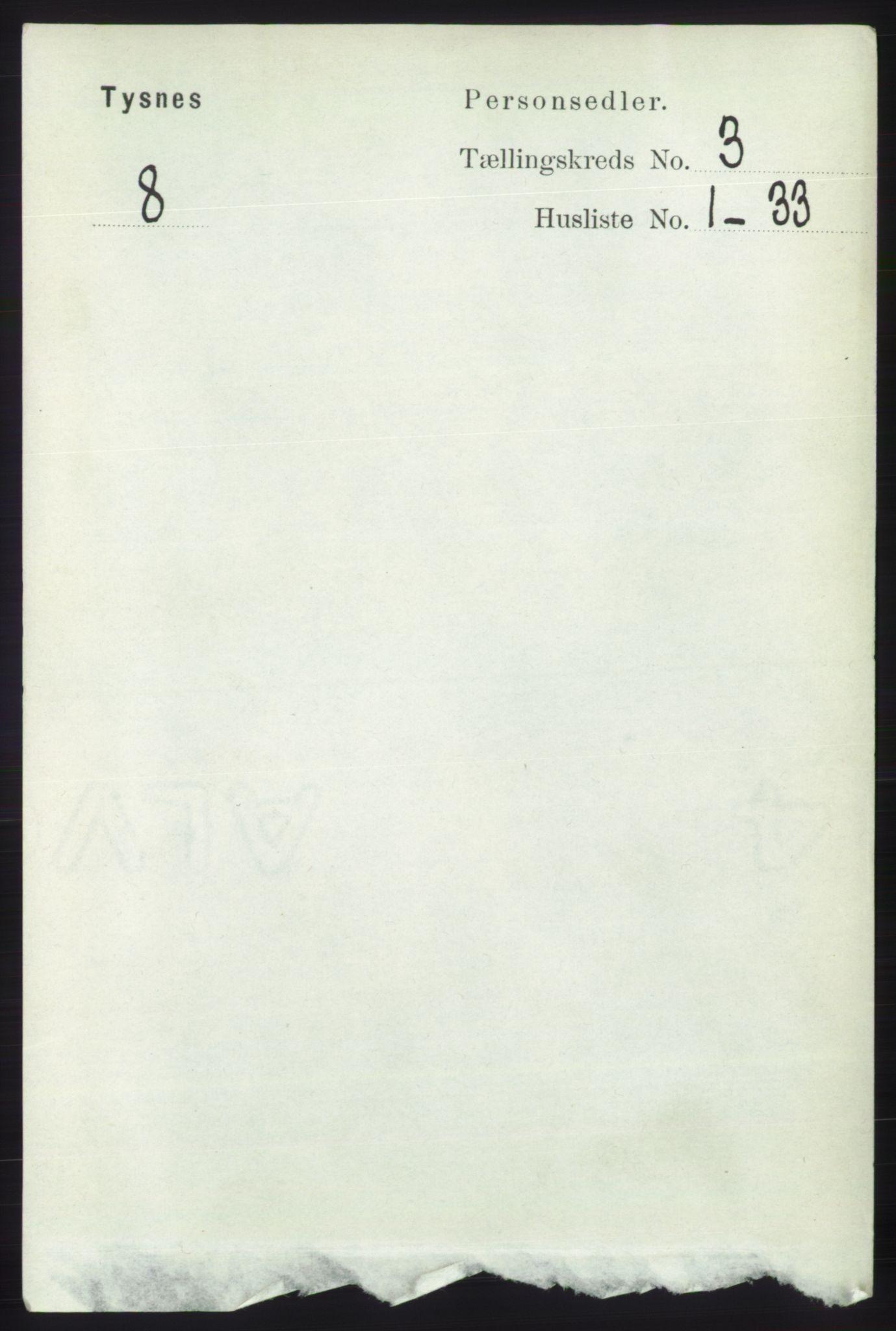 RA, Folketelling 1891 for 1223 Tysnes herred, 1891, s. 842