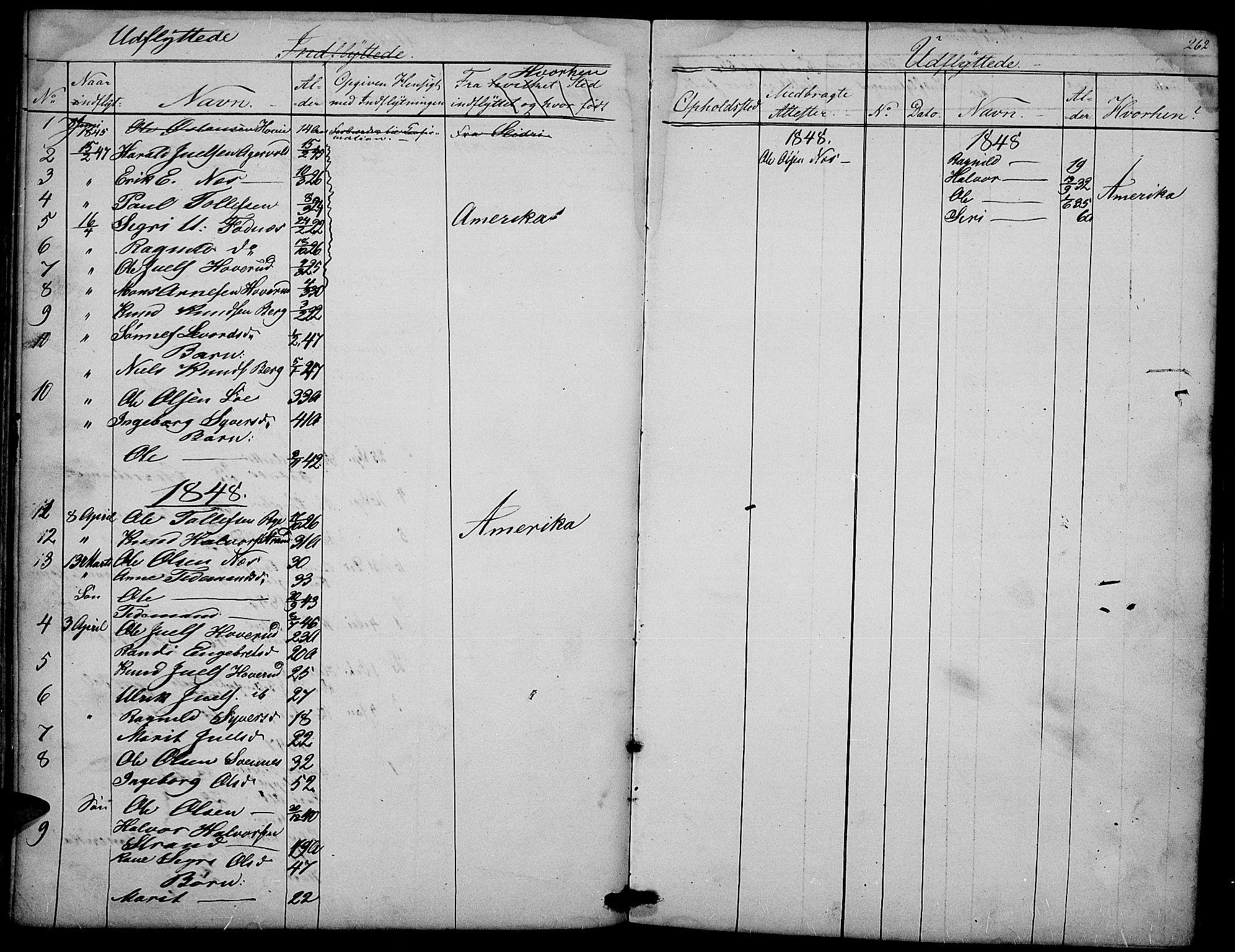 SAH, Nord-Aurdal prestekontor, Klokkerbok nr. 3, 1842-1882, s. 262