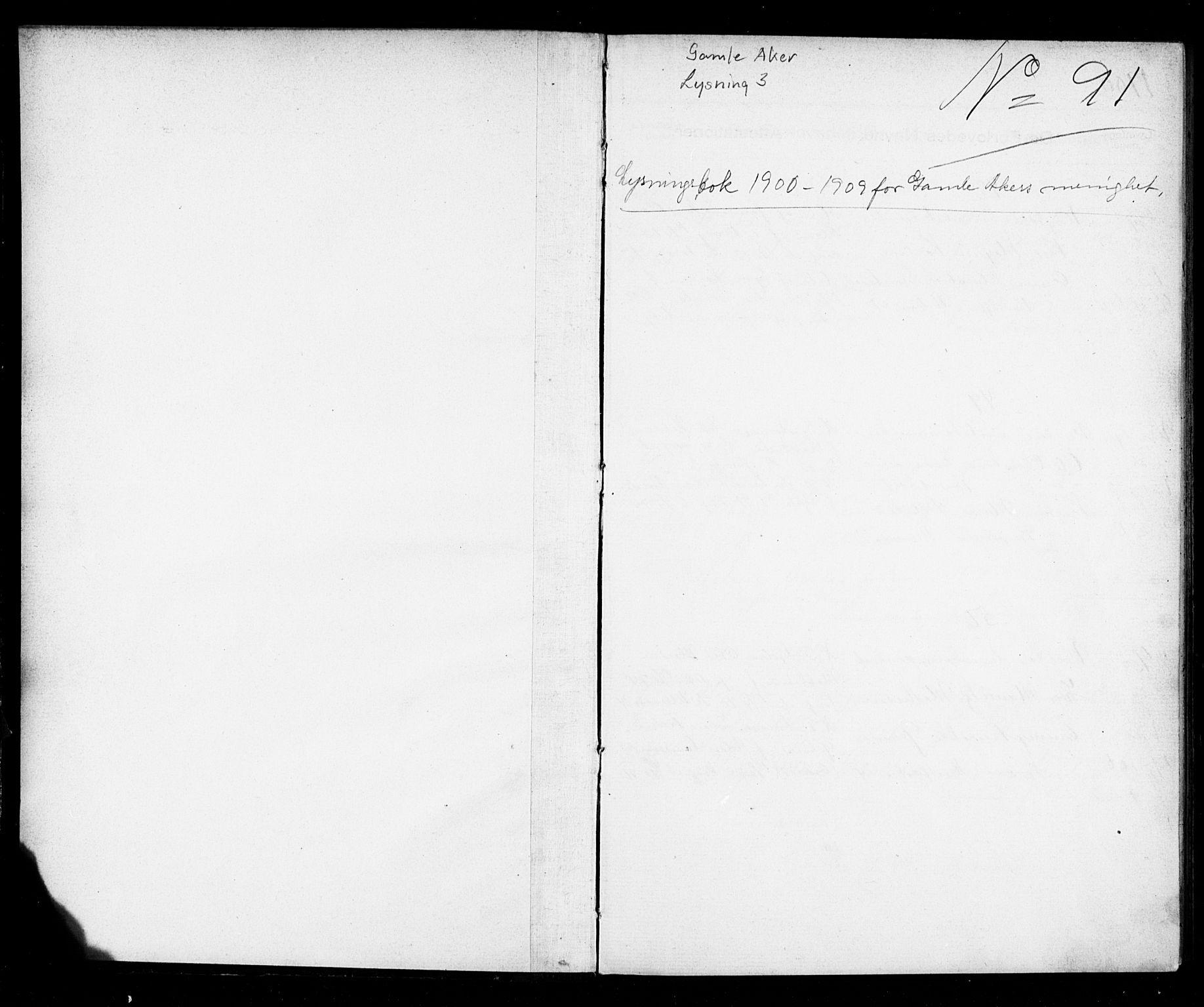 SAO, Gamle Aker prestekontor Kirkebøker, H/L0003: Lysningsprotokoll nr. 3, 1900-1909