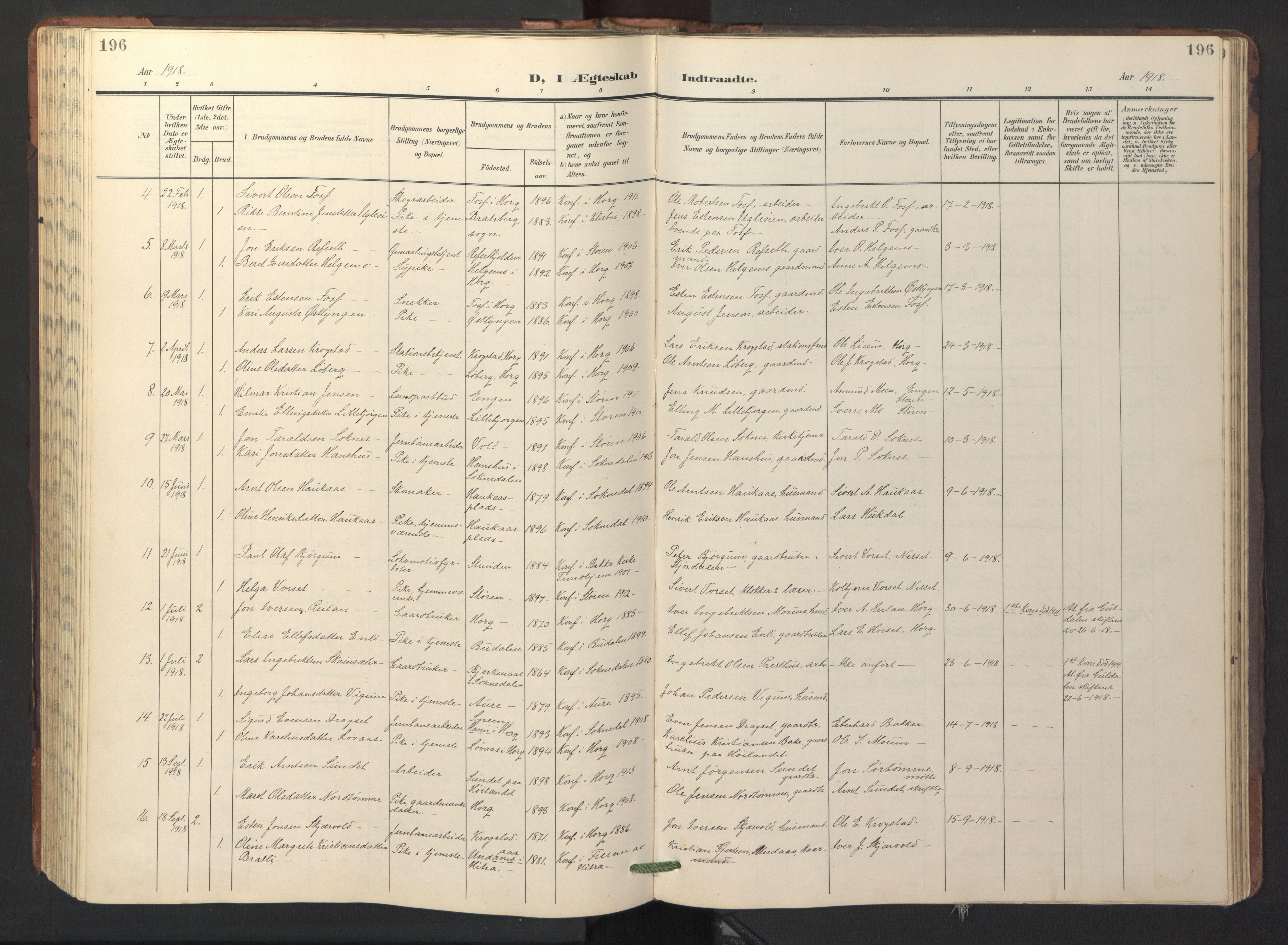 SAT, Ministerialprotokoller, klokkerbøker og fødselsregistre - Sør-Trøndelag, 687/L1019: Klokkerbok nr. 687C03, 1904-1931, s. 196