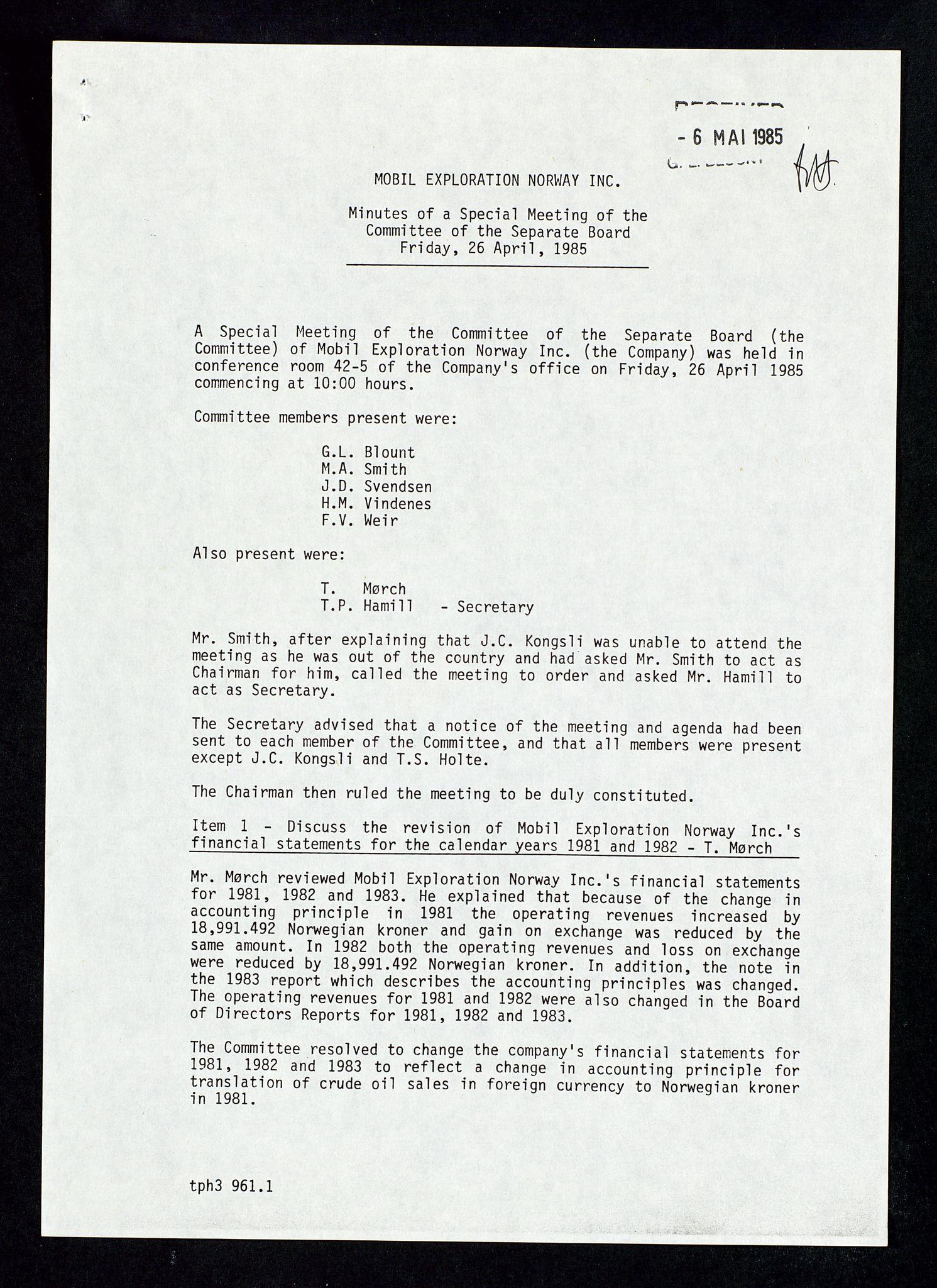 SAST, Pa 1578 - Mobil Exploration Norway Incorporated, D/Da/L0168: Sak og korrespondanse og styremøter, 1973-1986, s. 195