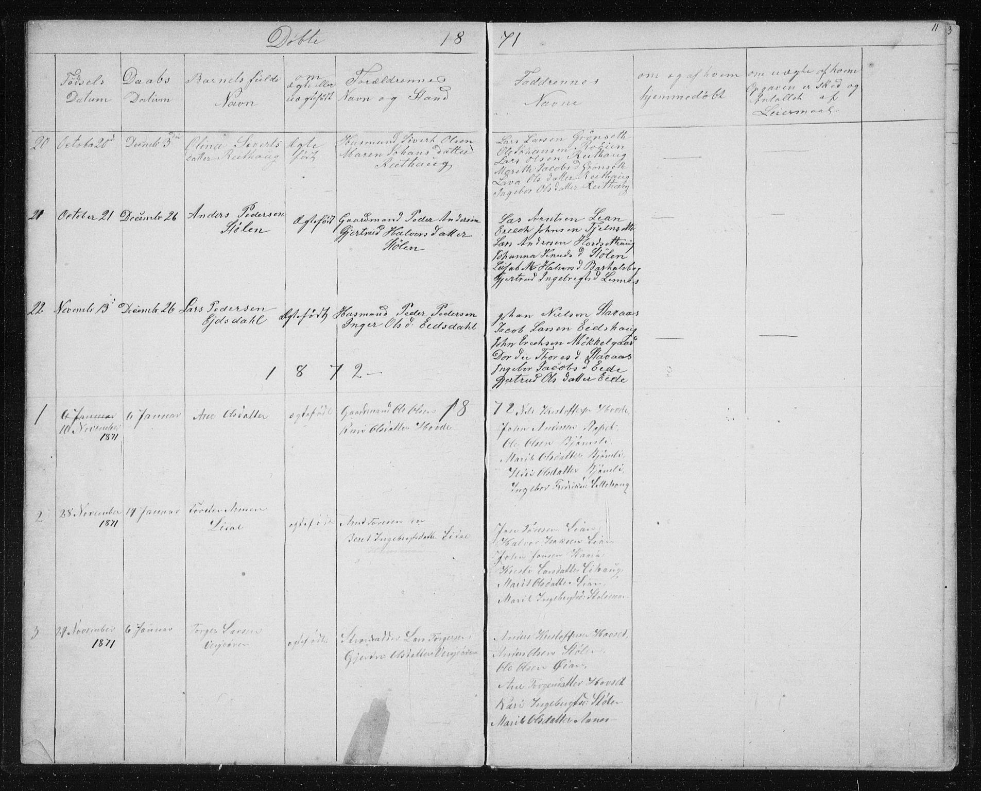 SAT, Ministerialprotokoller, klokkerbøker og fødselsregistre - Sør-Trøndelag, 631/L0513: Klokkerbok nr. 631C01, 1869-1879, s. 11