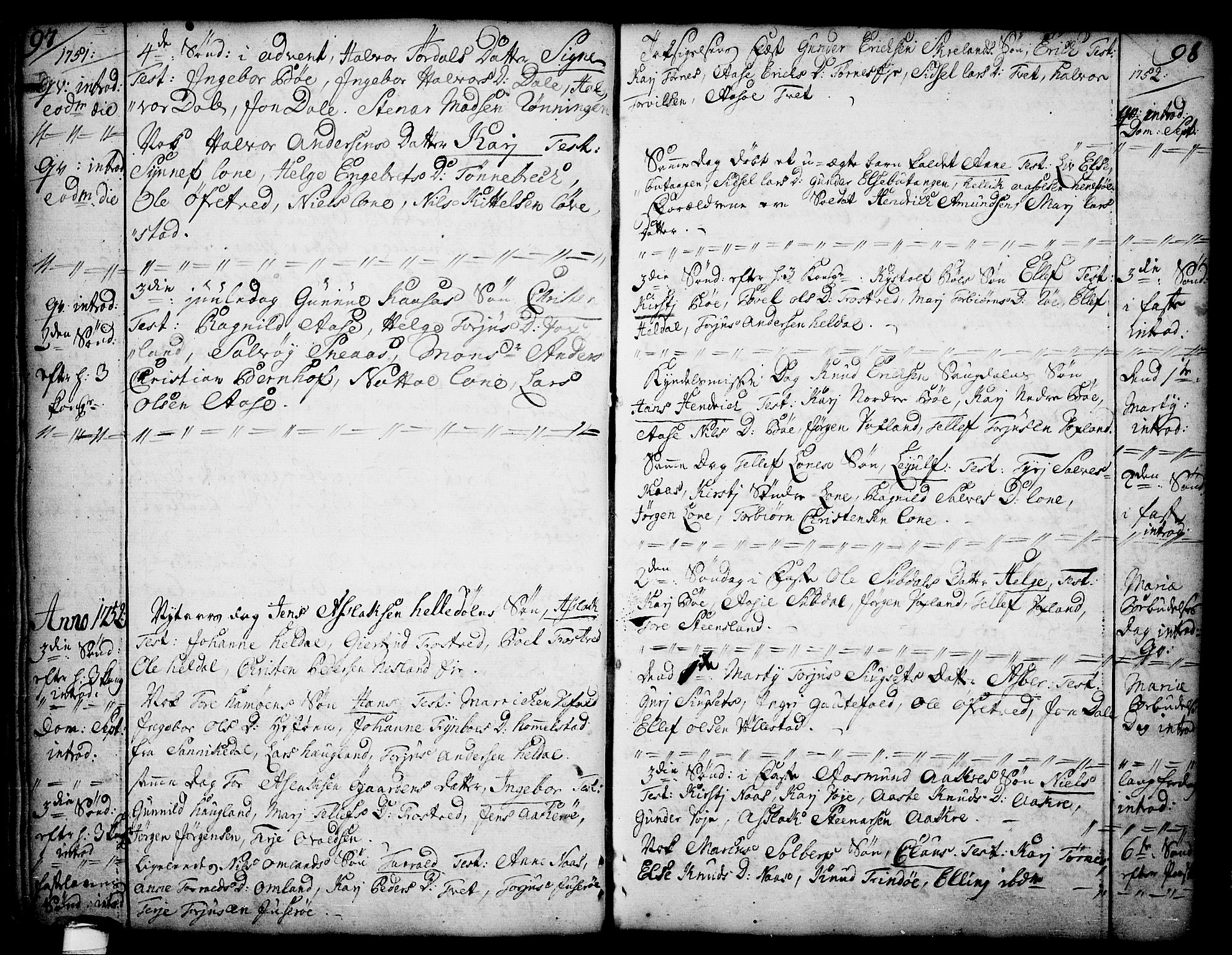 SAKO, Drangedal kirkebøker, F/Fa/L0002: Ministerialbok nr. 2, 1733-1753, s. 97-98