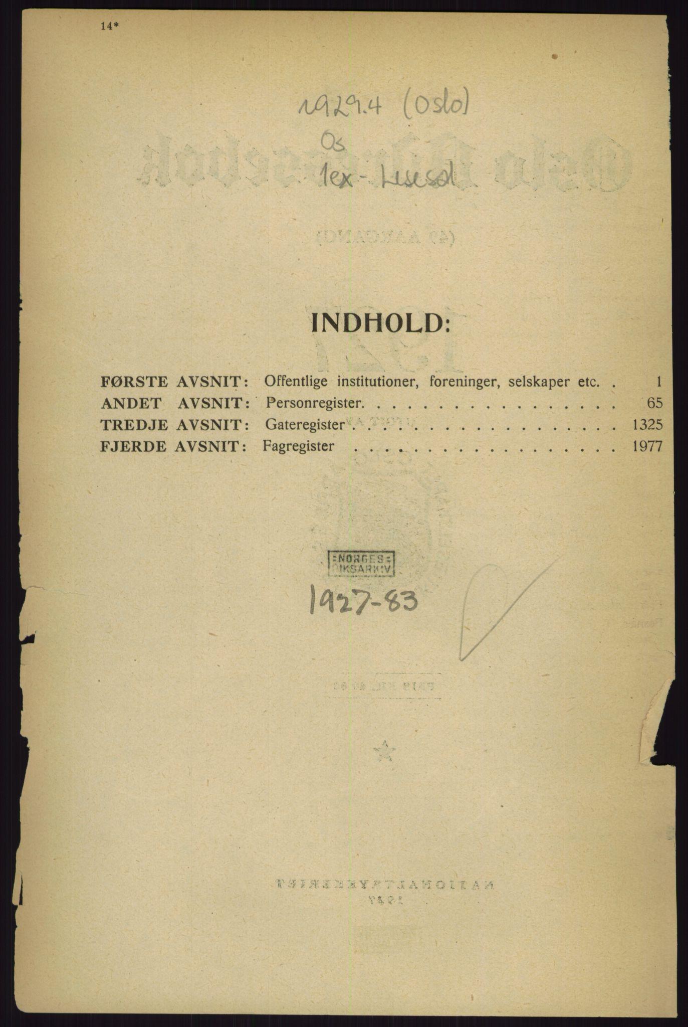 RA, Oslo adressebok (publikasjon)*, 1927, s. upaginert