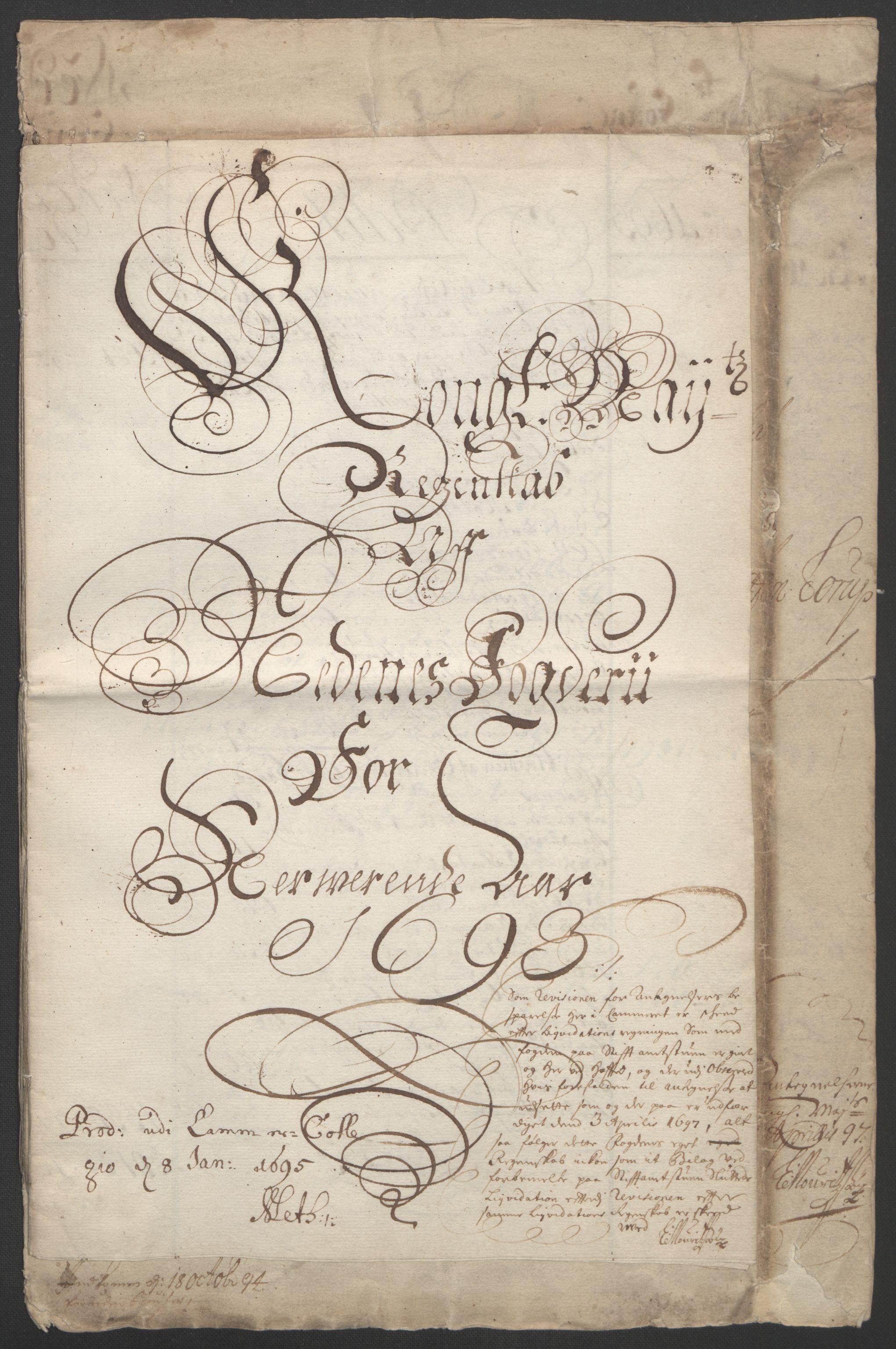 RA, Rentekammeret inntil 1814, Reviderte regnskaper, Fogderegnskap, R39/L2312: Fogderegnskap Nedenes, 1693-1695, s. 3