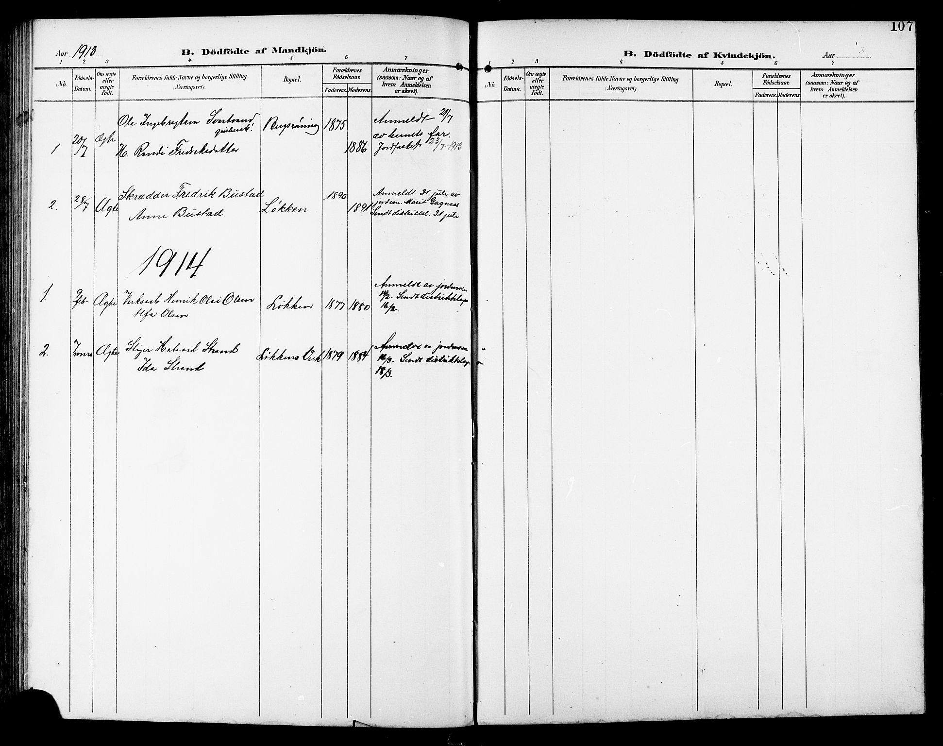 SAT, Ministerialprotokoller, klokkerbøker og fødselsregistre - Sør-Trøndelag, 672/L0864: Klokkerbok nr. 672C03, 1902-1914, s. 107