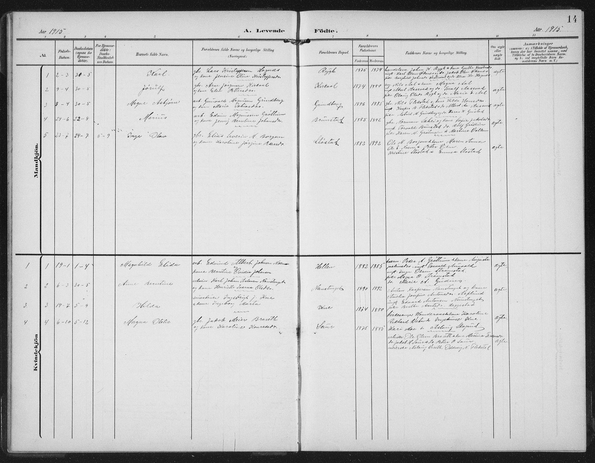 SAT, Ministerialprotokoller, klokkerbøker og fødselsregistre - Nord-Trøndelag, 747/L0460: Klokkerbok nr. 747C02, 1908-1939, s. 14