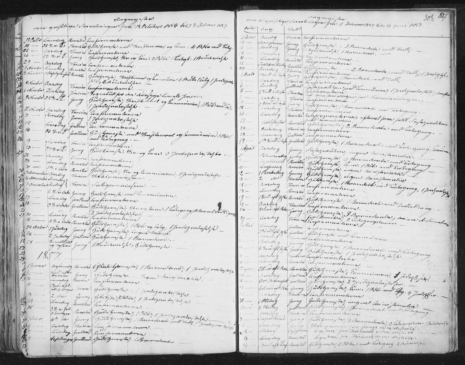 SAT, Ministerialprotokoller, klokkerbøker og fødselsregistre - Nord-Trøndelag, 758/L0513: Ministerialbok nr. 758A02 /1, 1839-1868, s. 308